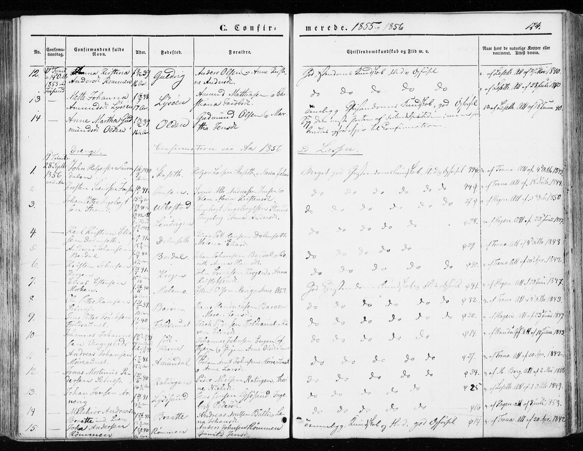 SAT, Ministerialprotokoller, klokkerbøker og fødselsregistre - Sør-Trøndelag, 655/L0677: Ministerialbok nr. 655A06, 1847-1860, s. 124