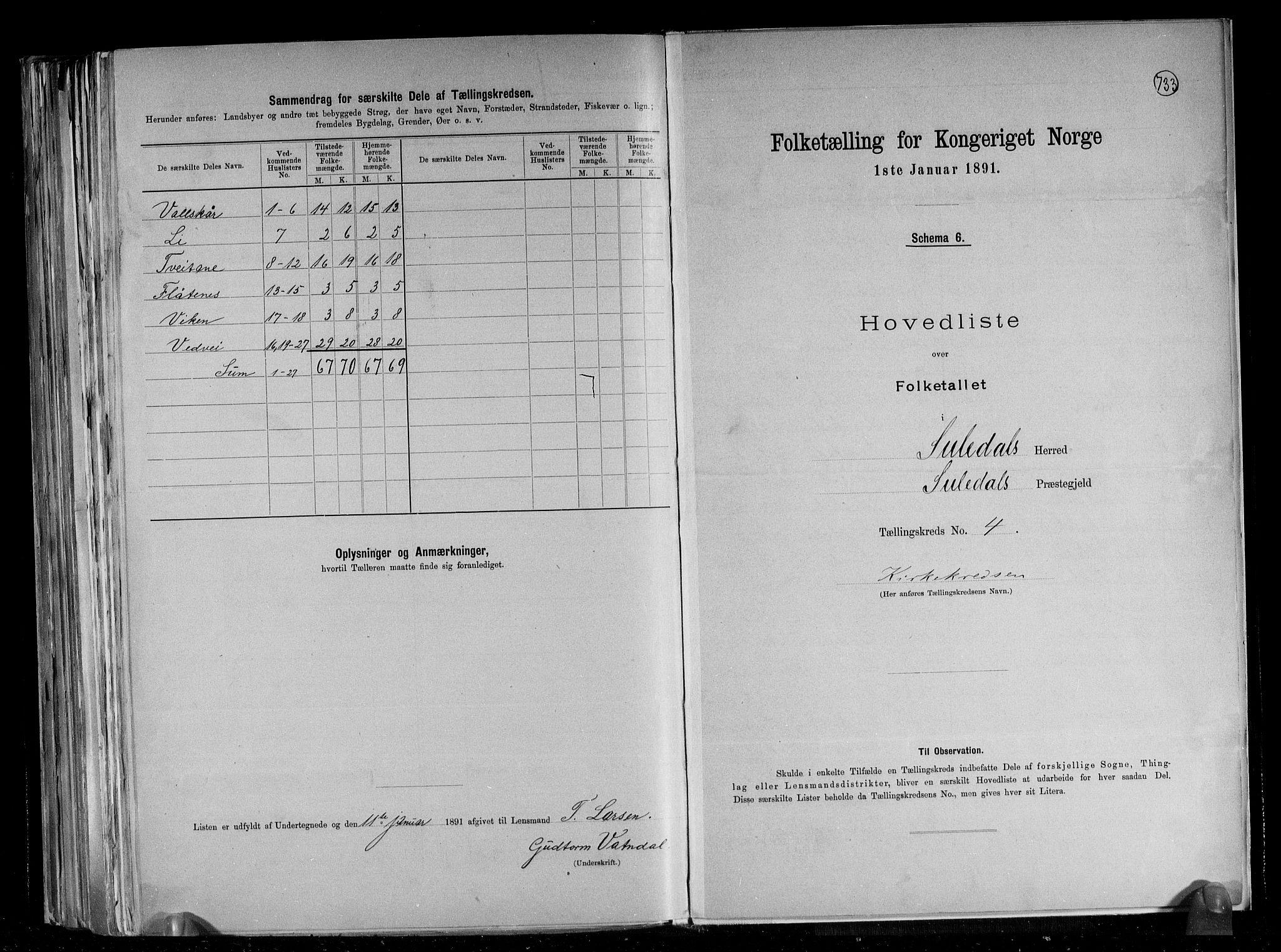 RA, Folketelling 1891 for 1134 Suldal herred, 1891, s. 10