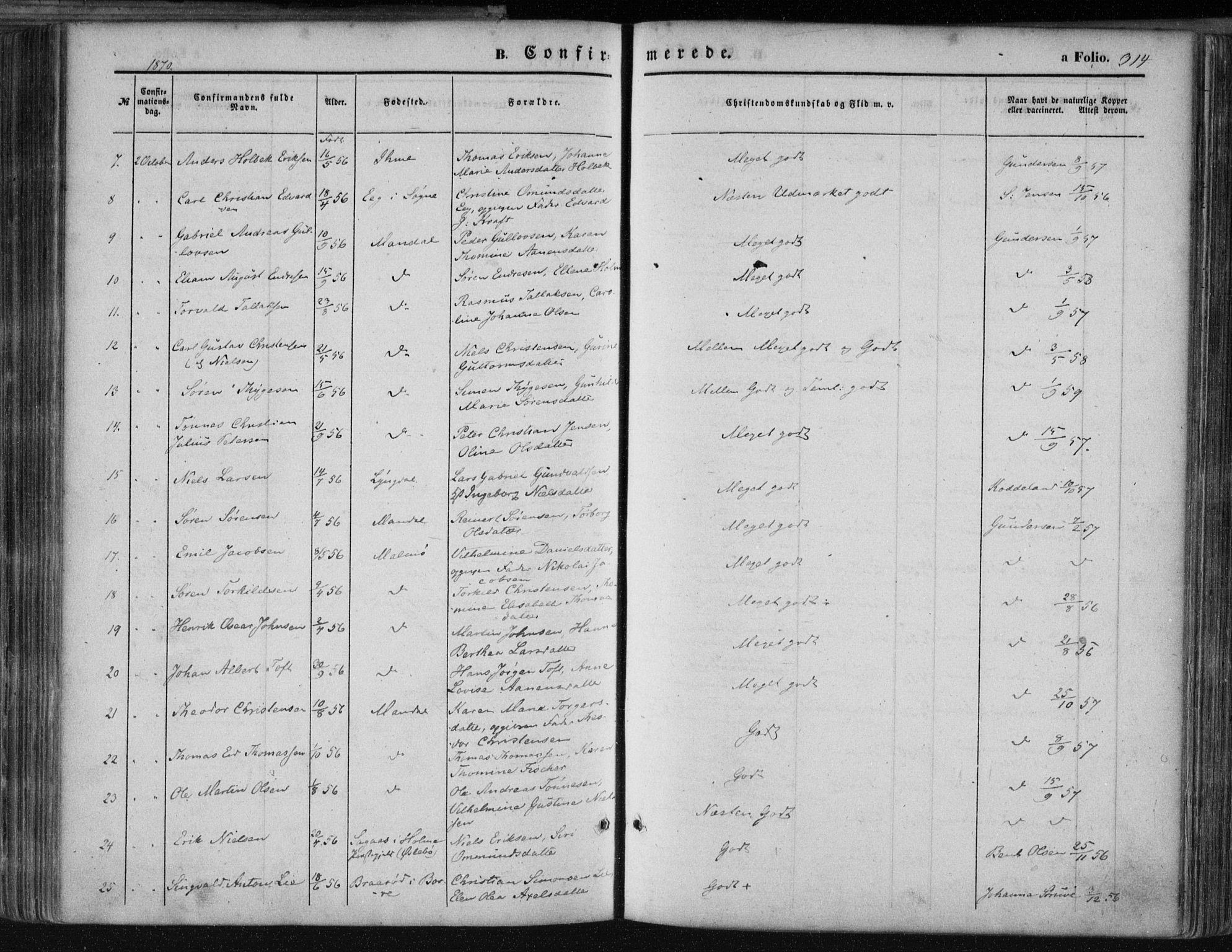 SAK, Mandal sokneprestkontor, F/Fa/Faa/L0014: Ministerialbok nr. A 14, 1859-1872, s. 314