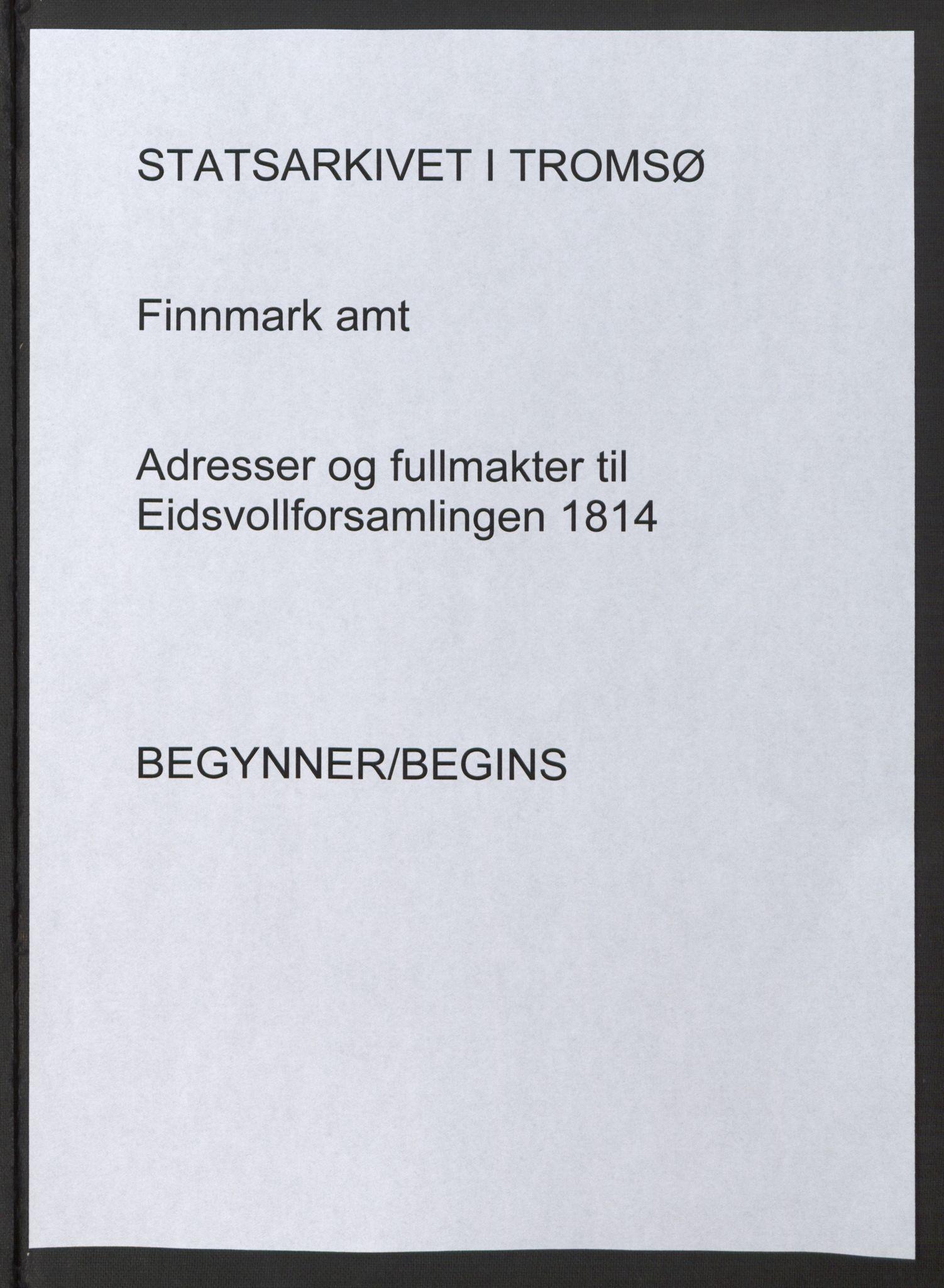 SATØ, Fylkesmannen i Finnmark, 1814, s. 1