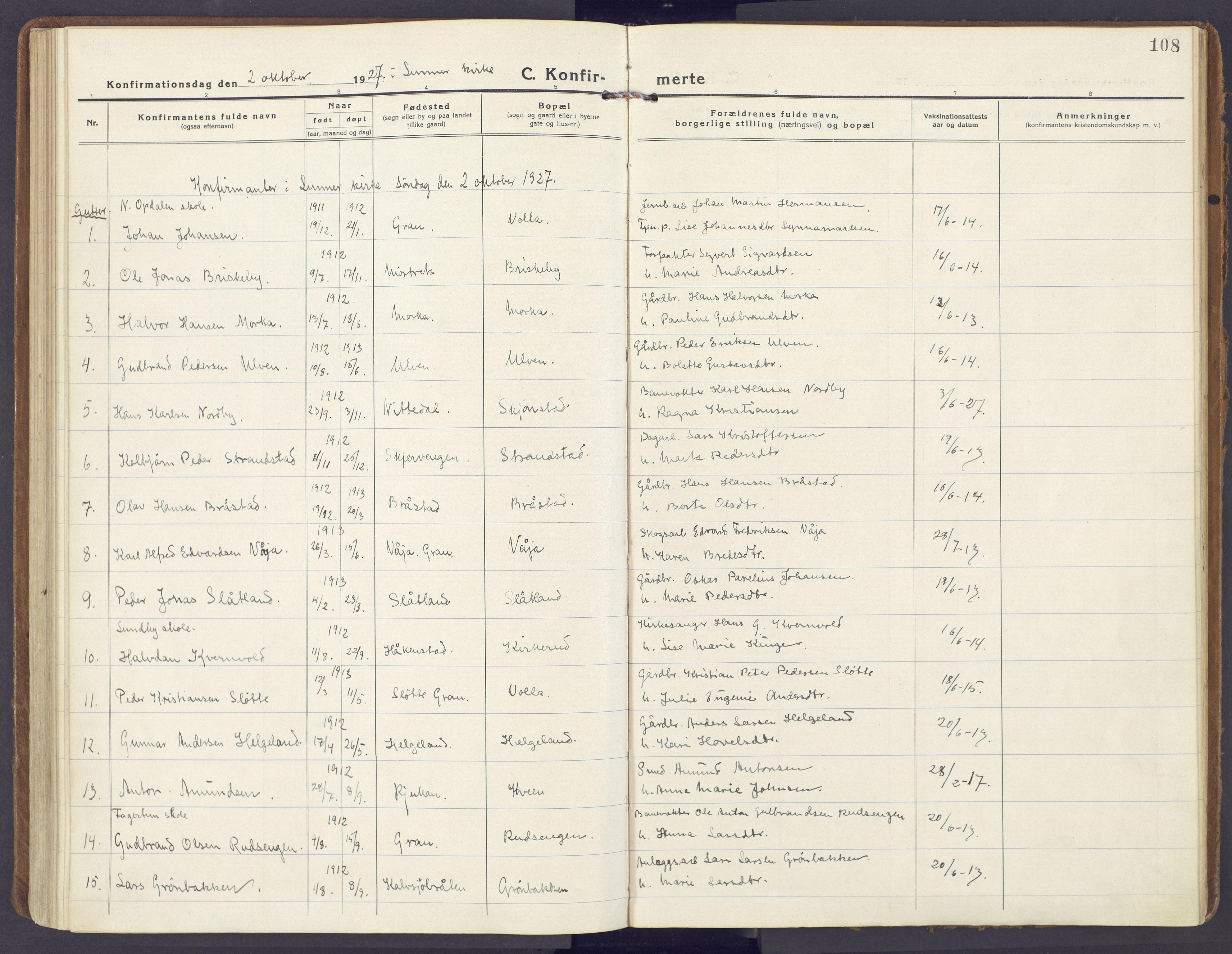 SAH, Lunner prestekontor, H/Ha/Haa/L0002: Ministerialbok nr. 2, 1922-1931, s. 108