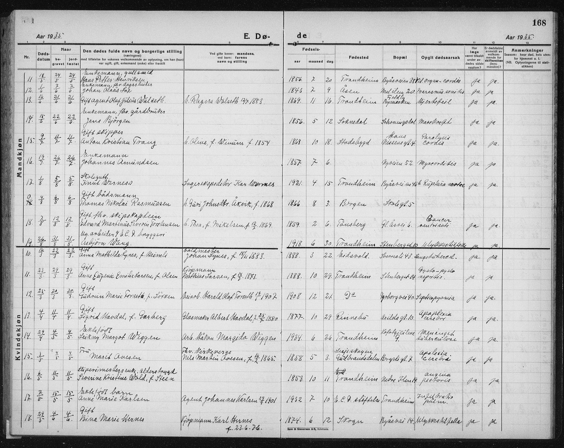 SAT, Ministerialprotokoller, klokkerbøker og fødselsregistre - Sør-Trøndelag, 603/L0176: Klokkerbok nr. 603C04, 1923-1941, s. 168