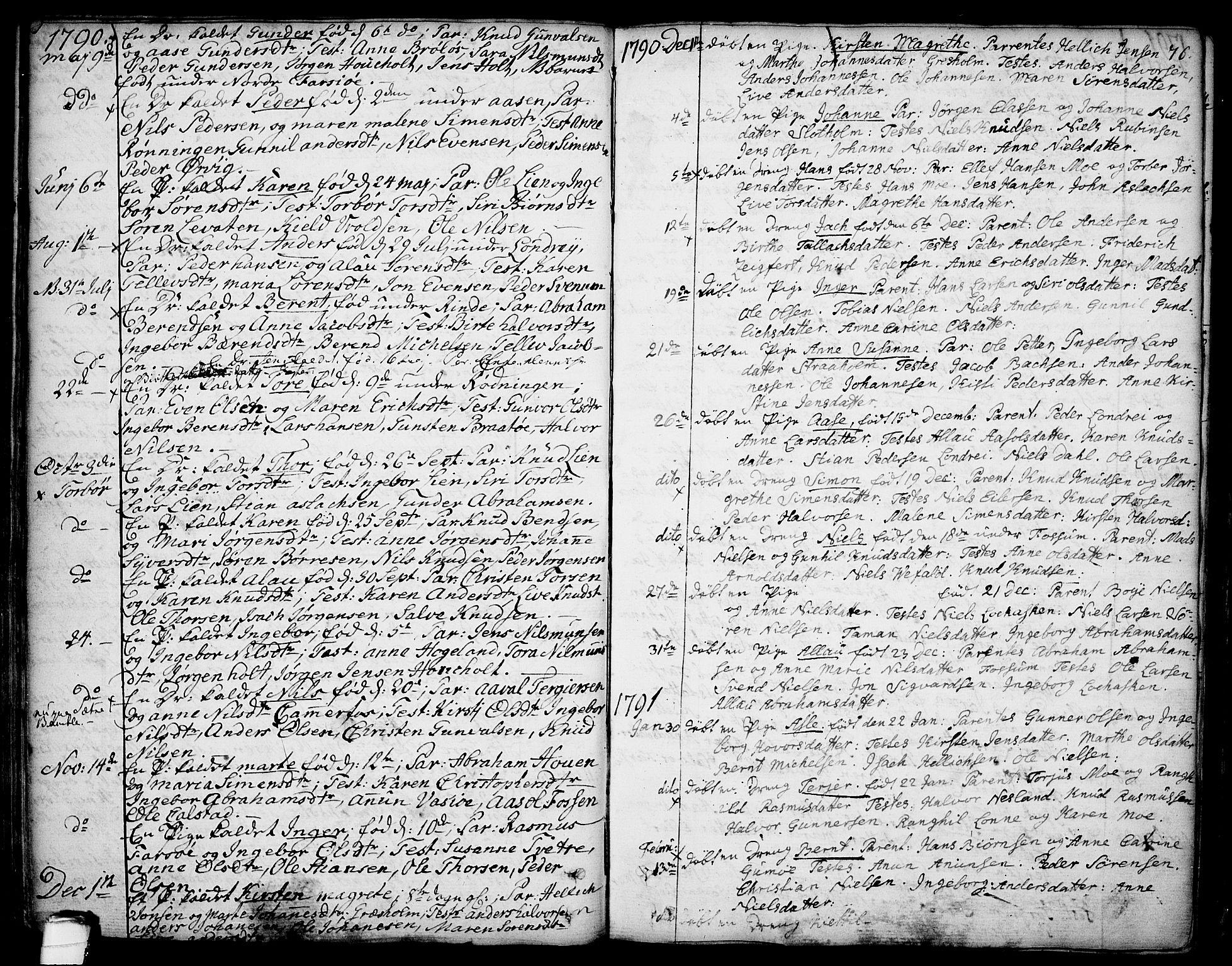 SAKO, Sannidal kirkebøker, F/Fa/L0002: Ministerialbok nr. 2, 1767-1802, s. 76