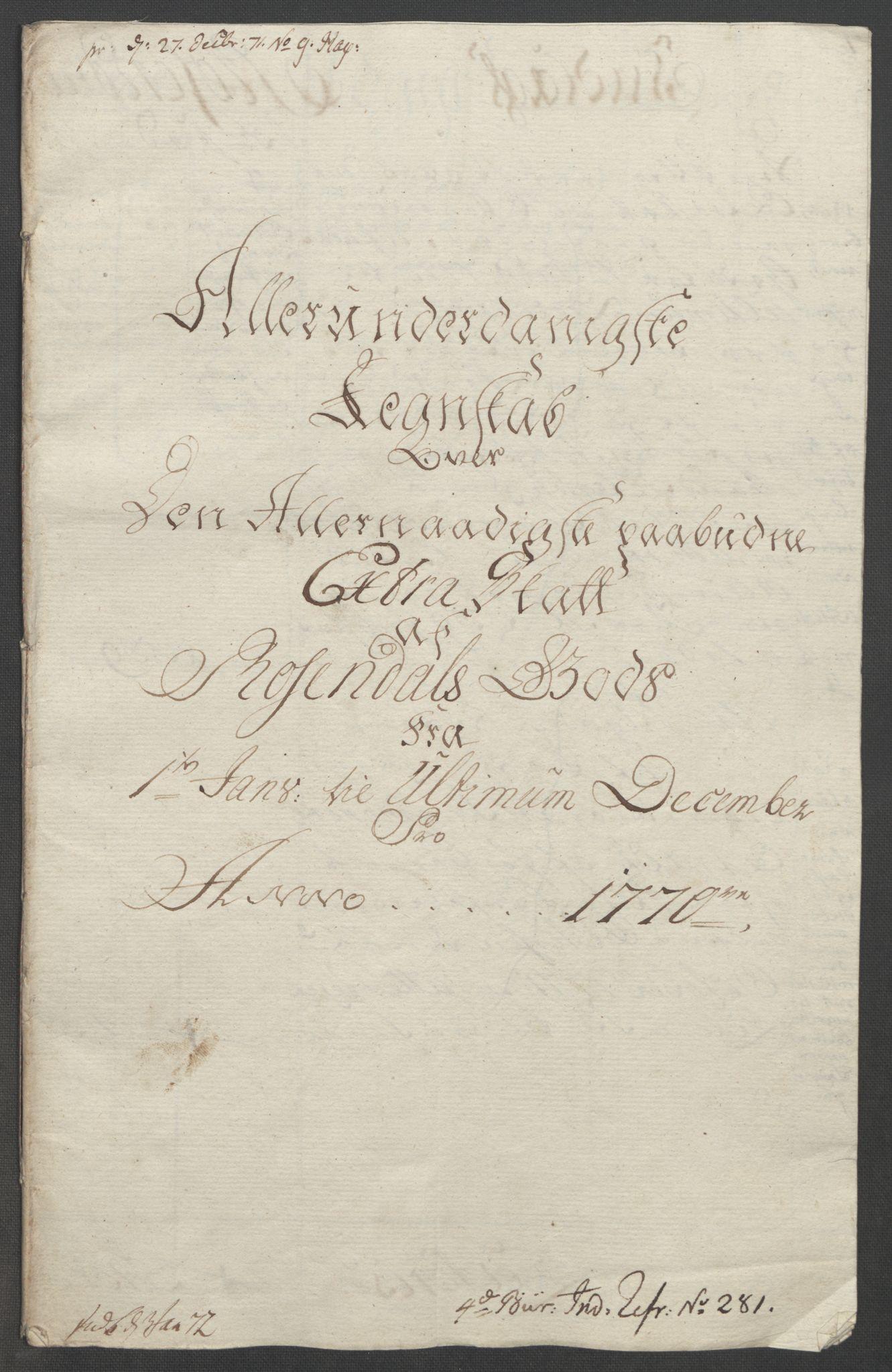 RA, Rentekammeret inntil 1814, Reviderte regnskaper, Fogderegnskap, R49/L3157: Ekstraskatten Rosendal Baroni, 1762-1772, s. 279