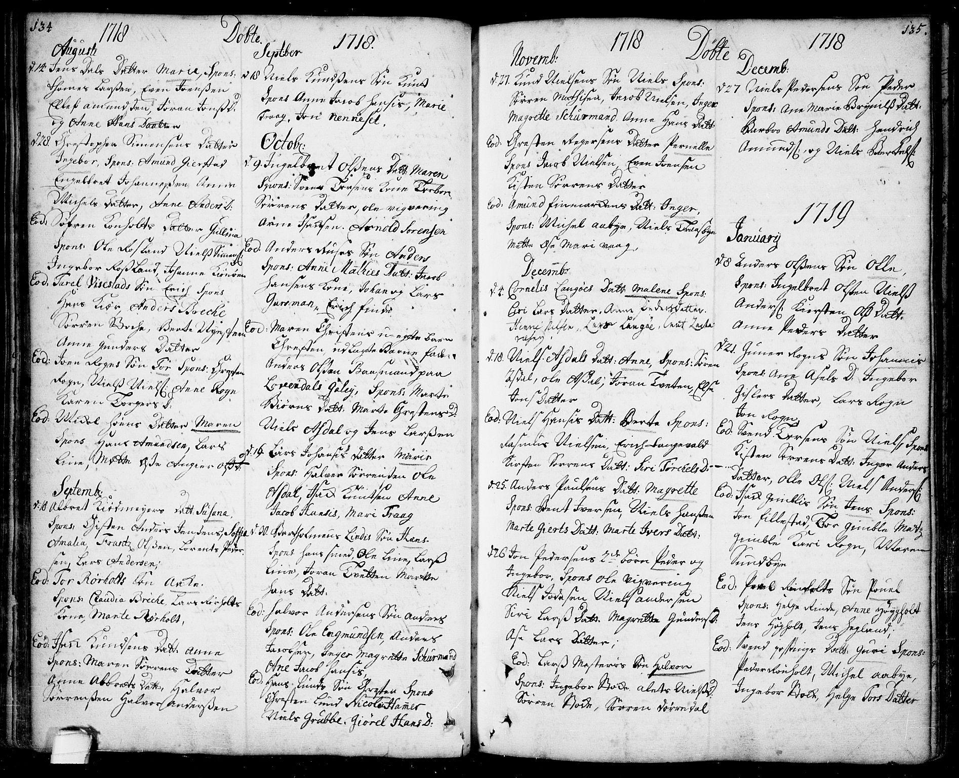 SAKO, Bamble kirkebøker, F/Fa/L0001: Ministerialbok nr. I 1, 1702-1774, s. 134-135