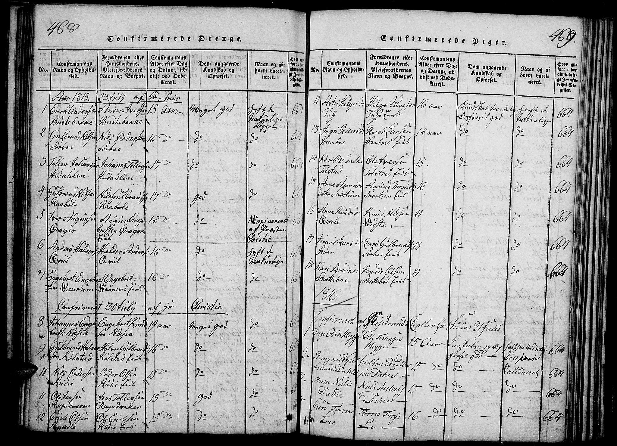 SAH, Slidre prestekontor, Ministerialbok nr. 2, 1814-1830, s. 468-469