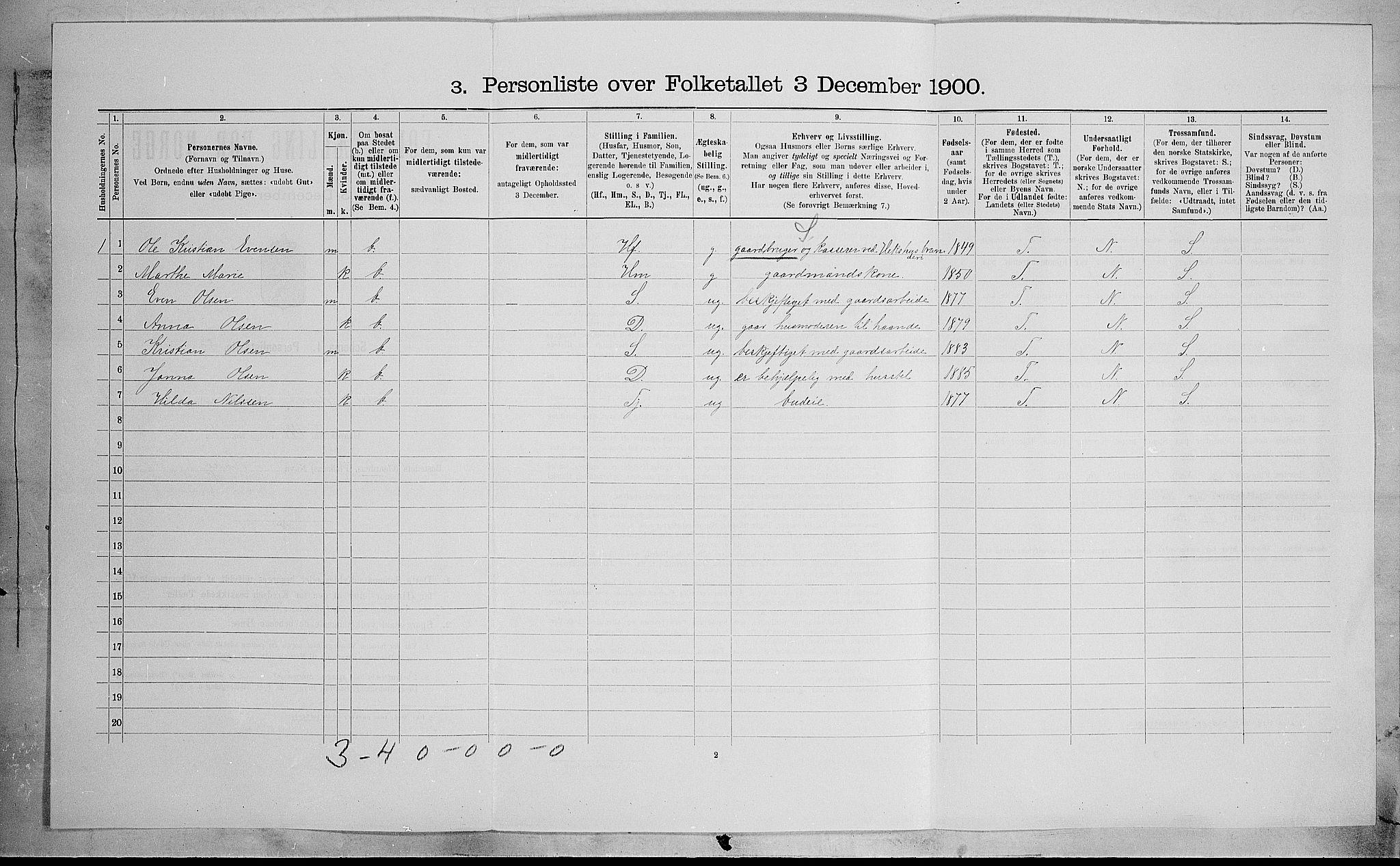 SAH, Folketelling 1900 for 0528 Østre Toten herred, 1900, s. 507