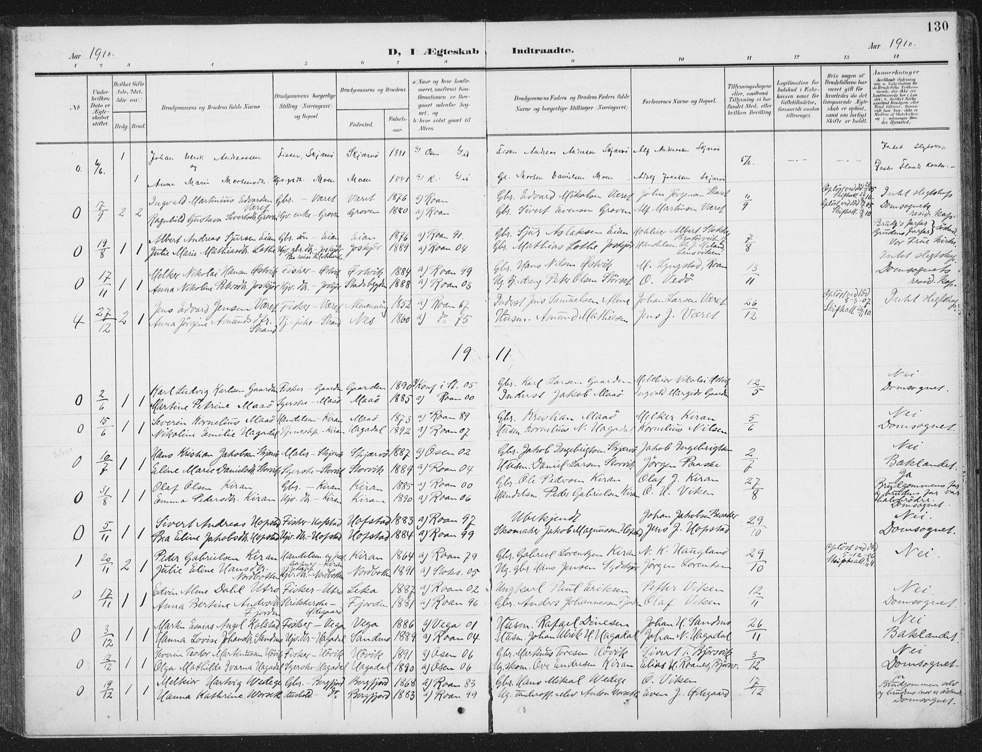 SAT, Ministerialprotokoller, klokkerbøker og fødselsregistre - Sør-Trøndelag, 657/L0709: Ministerialbok nr. 657A10, 1905-1919, s. 130