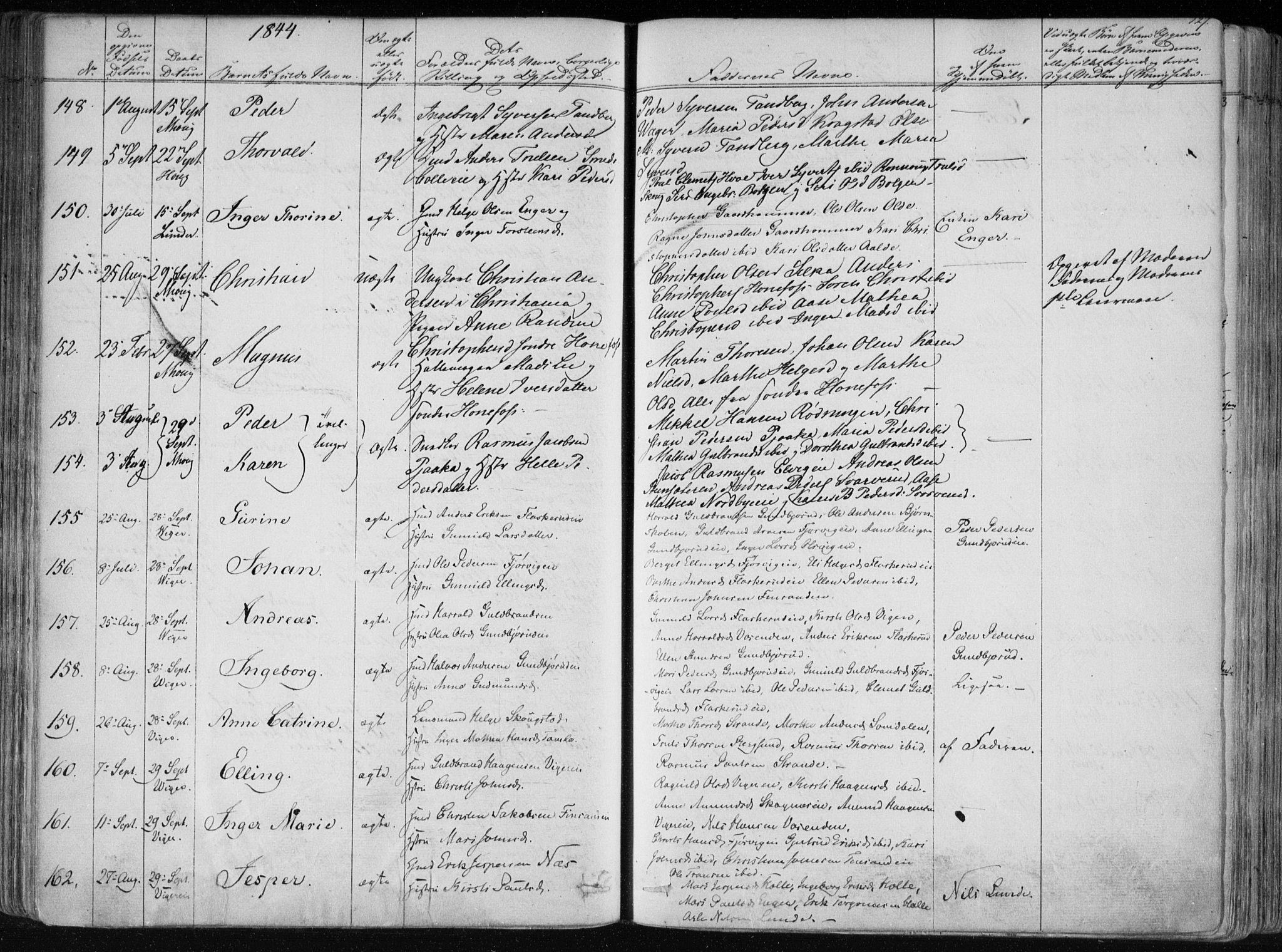 SAKO, Norderhov kirkebøker, F/Fa/L0010: Ministerialbok nr. 10, 1837-1847, s. 127