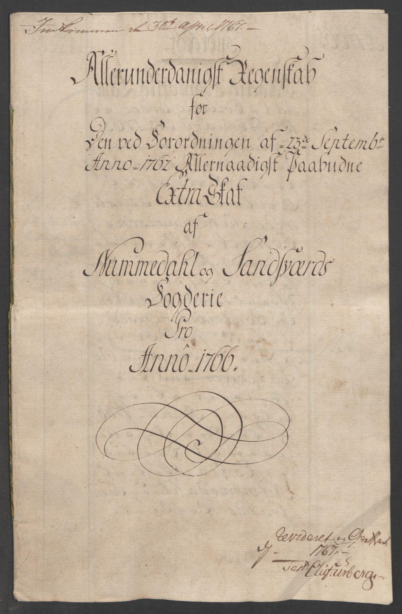 RA, Rentekammeret inntil 1814, Reviderte regnskaper, Fogderegnskap, R24/L1672: Ekstraskatten Numedal og Sandsvær, 1762-1767, s. 290