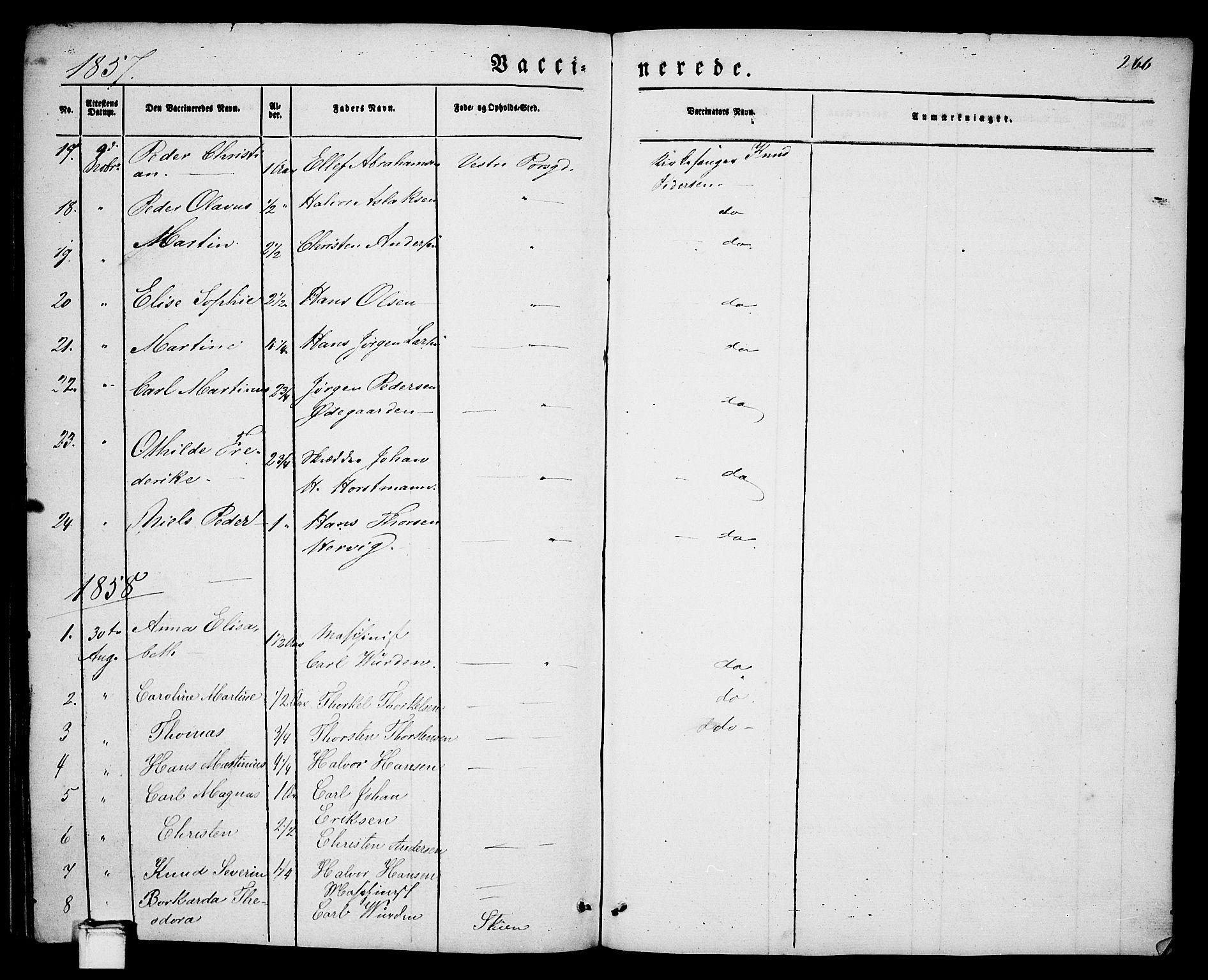 SAKO, Porsgrunn kirkebøker , G/Ga/L0002: Klokkerbok nr. I 2, 1847-1877, s. 266