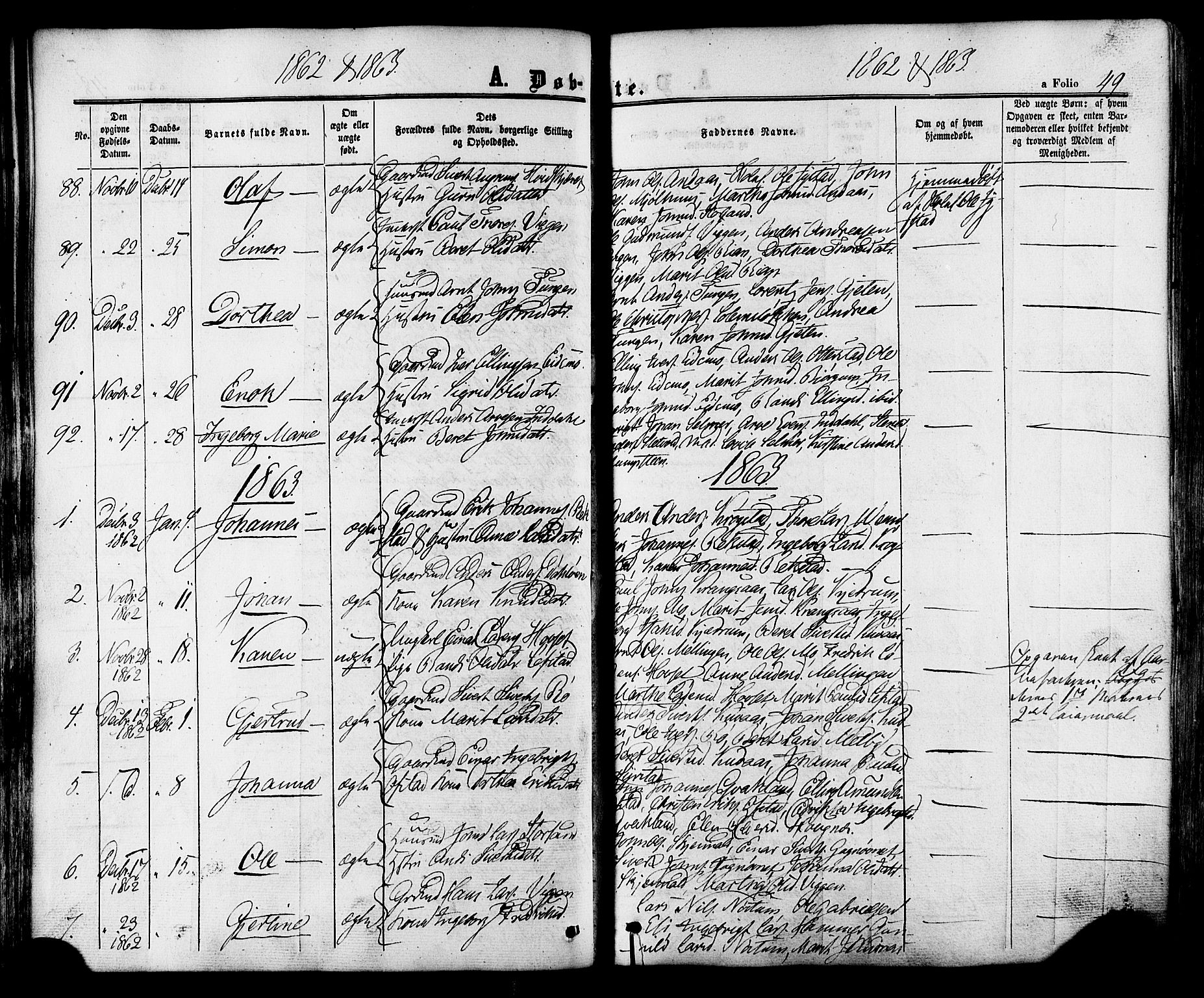 SAT, Ministerialprotokoller, klokkerbøker og fødselsregistre - Sør-Trøndelag, 665/L0772: Ministerialbok nr. 665A07, 1856-1878, s. 49