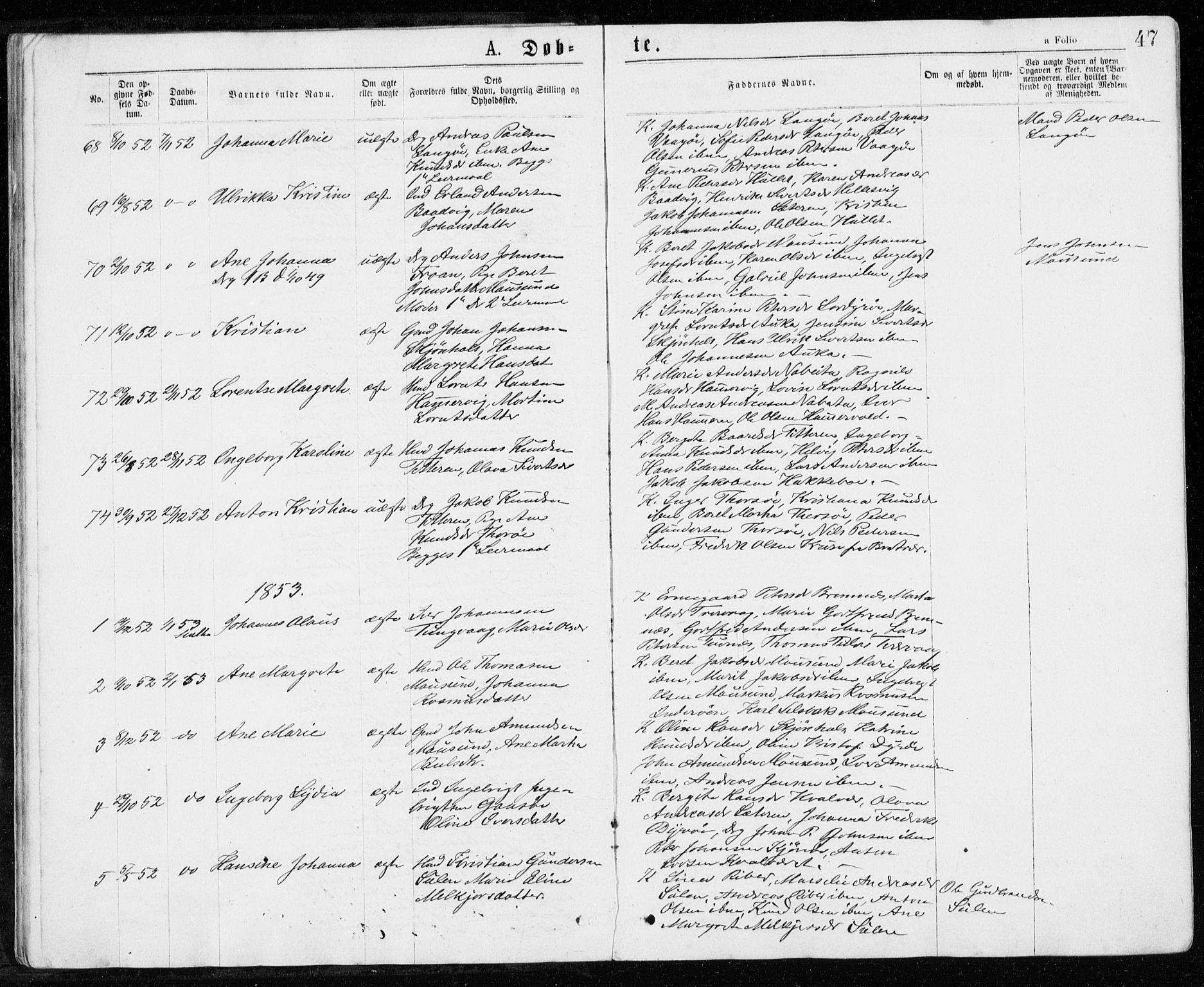 SAT, Ministerialprotokoller, klokkerbøker og fødselsregistre - Sør-Trøndelag, 640/L0576: Ministerialbok nr. 640A01, 1846-1876, s. 47