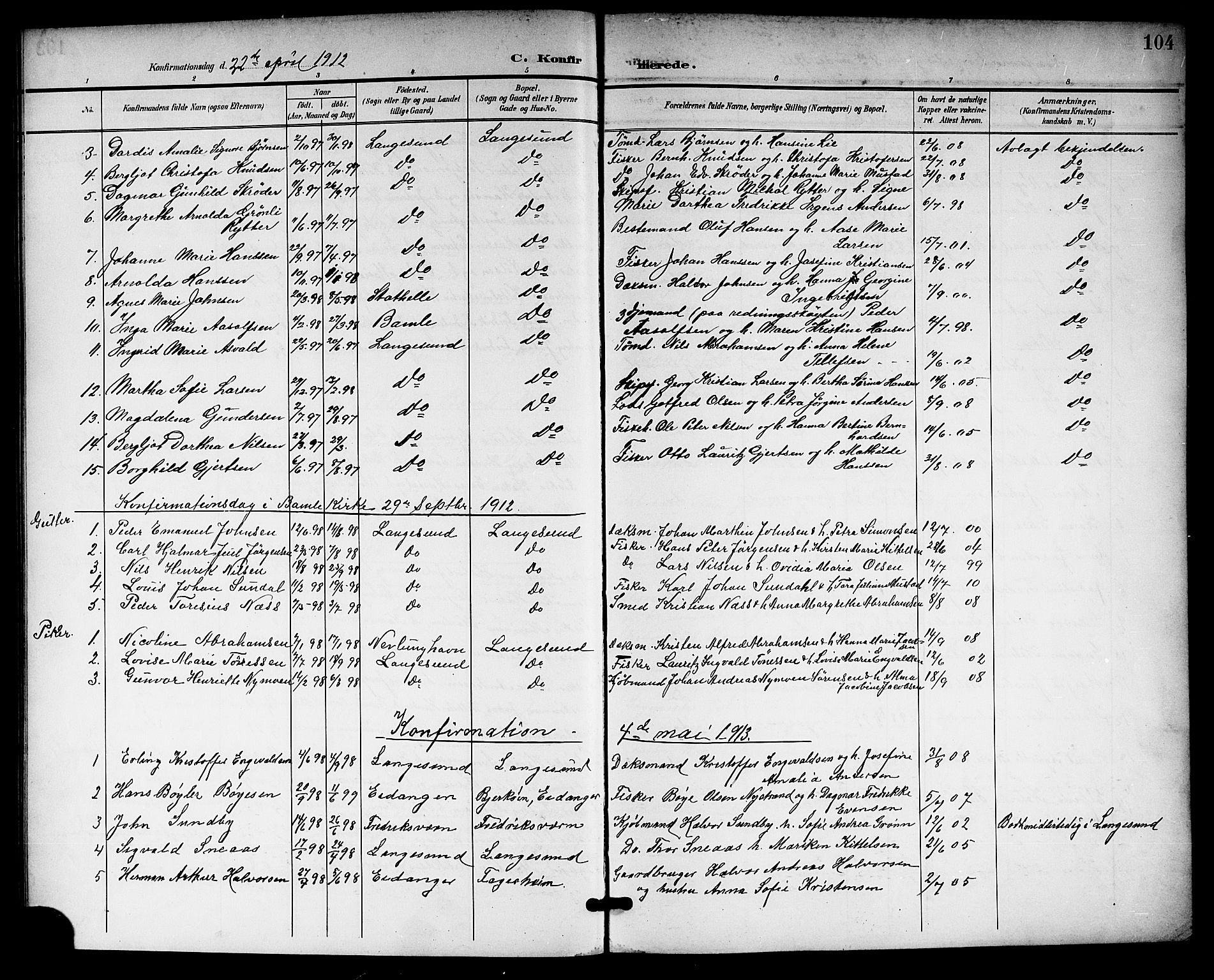 SAKO, Langesund kirkebøker, G/Ga/L0006: Klokkerbok nr. 6, 1899-1918, s. 104