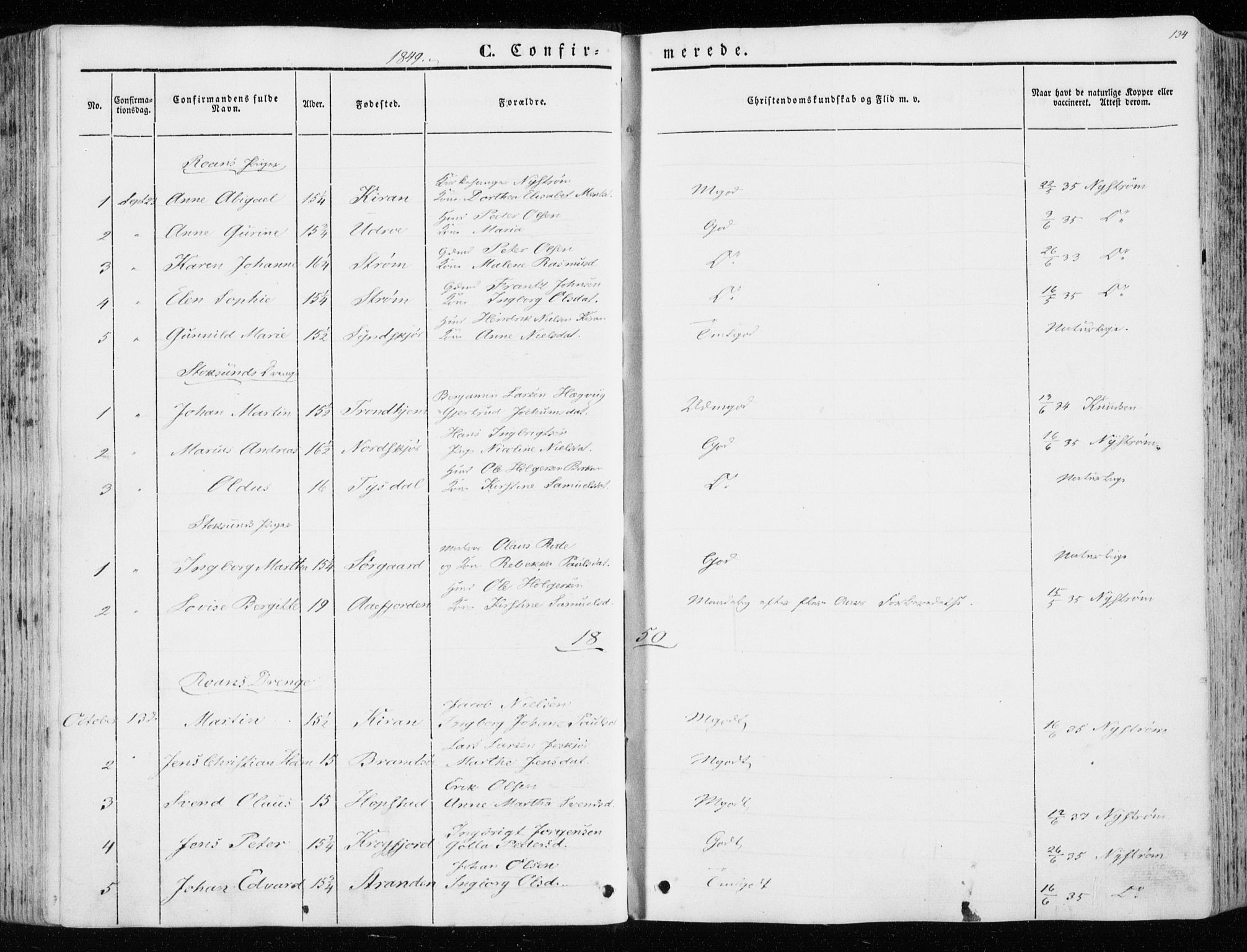 SAT, Ministerialprotokoller, klokkerbøker og fødselsregistre - Sør-Trøndelag, 657/L0704: Ministerialbok nr. 657A05, 1846-1857, s. 134