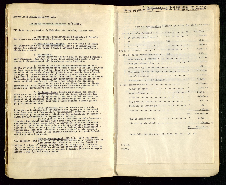 SAST, PA 1514 - Sporveienes Bensindepot, Norsk Oljeraffineri A/S, A/L0002: Forhandlingsprotokoll Arbeidsutvaget, 1932-1946, s. 90