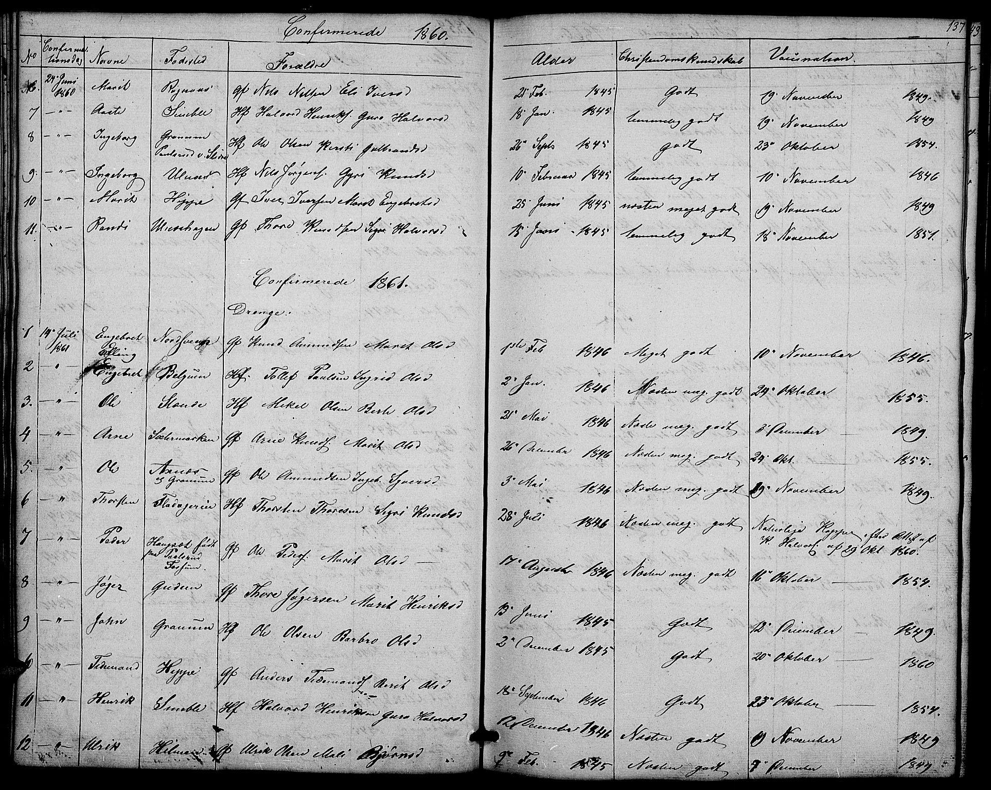 SAH, Nord-Aurdal prestekontor, Klokkerbok nr. 4, 1842-1882, s. 137