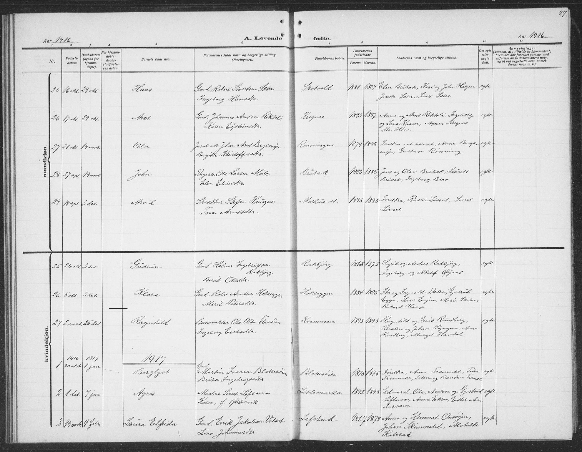 SAT, Ministerialprotokoller, klokkerbøker og fødselsregistre - Sør-Trøndelag, 691/L1095: Klokkerbok nr. 691C06, 1912-1933, s. 27