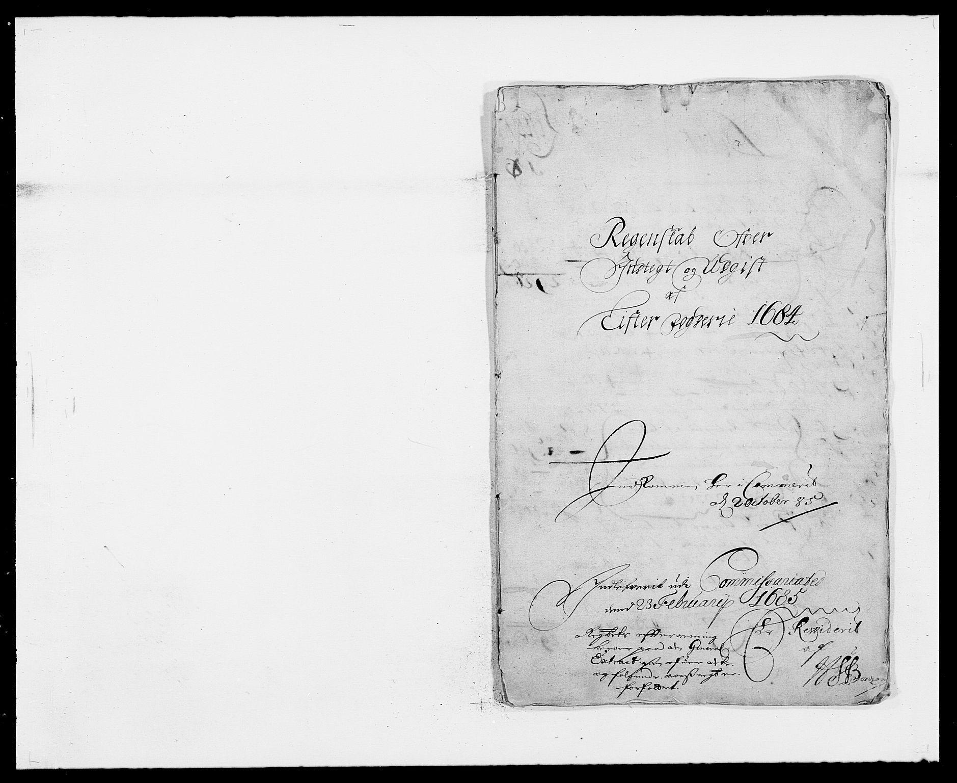 RA, Rentekammeret inntil 1814, Reviderte regnskaper, Fogderegnskap, R41/L2533: Fogderegnskap Lista, 1684-1685, s. 1