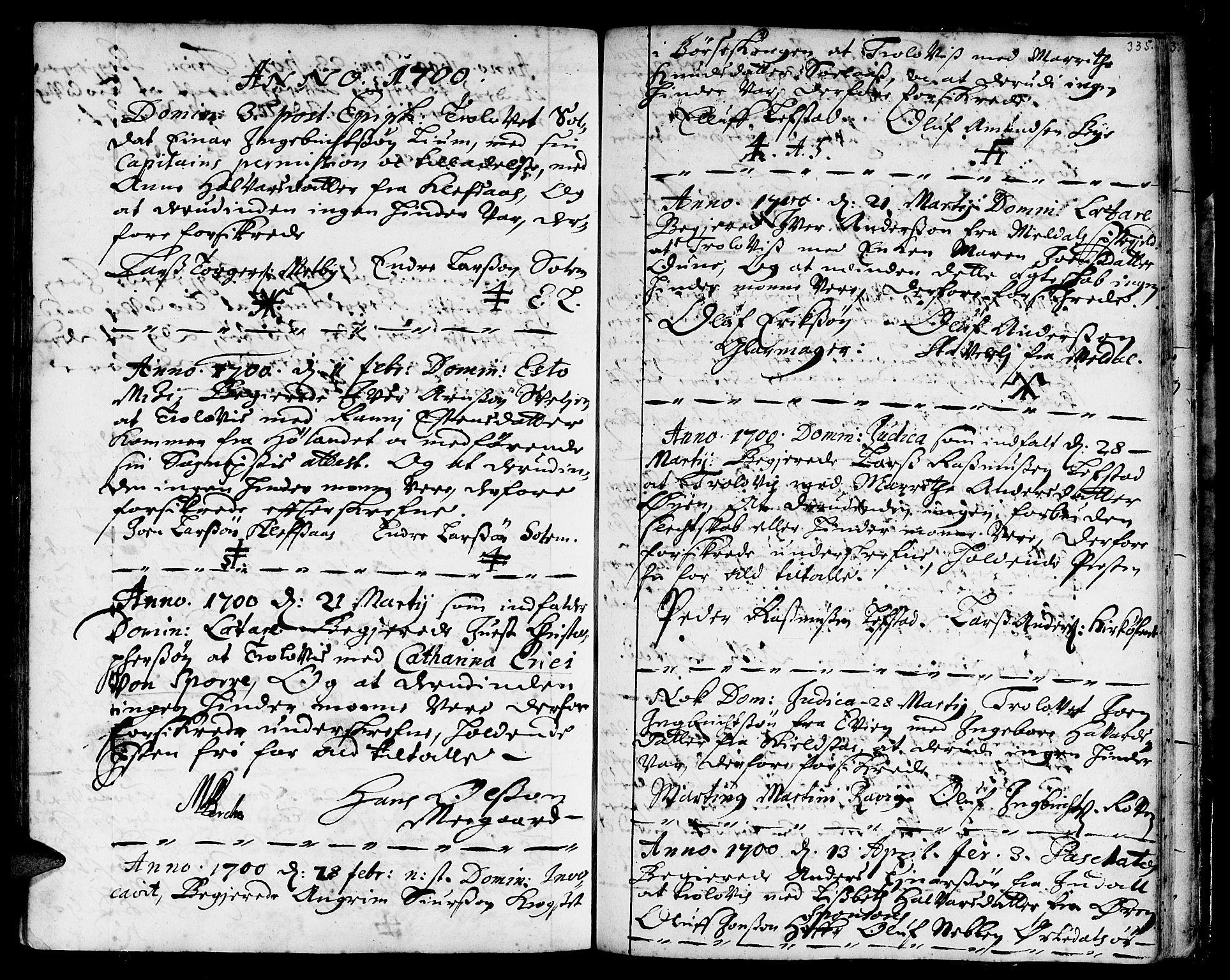 SAT, Ministerialprotokoller, klokkerbøker og fødselsregistre - Sør-Trøndelag, 668/L0801: Ministerialbok nr. 668A01, 1695-1716, s. 334-335
