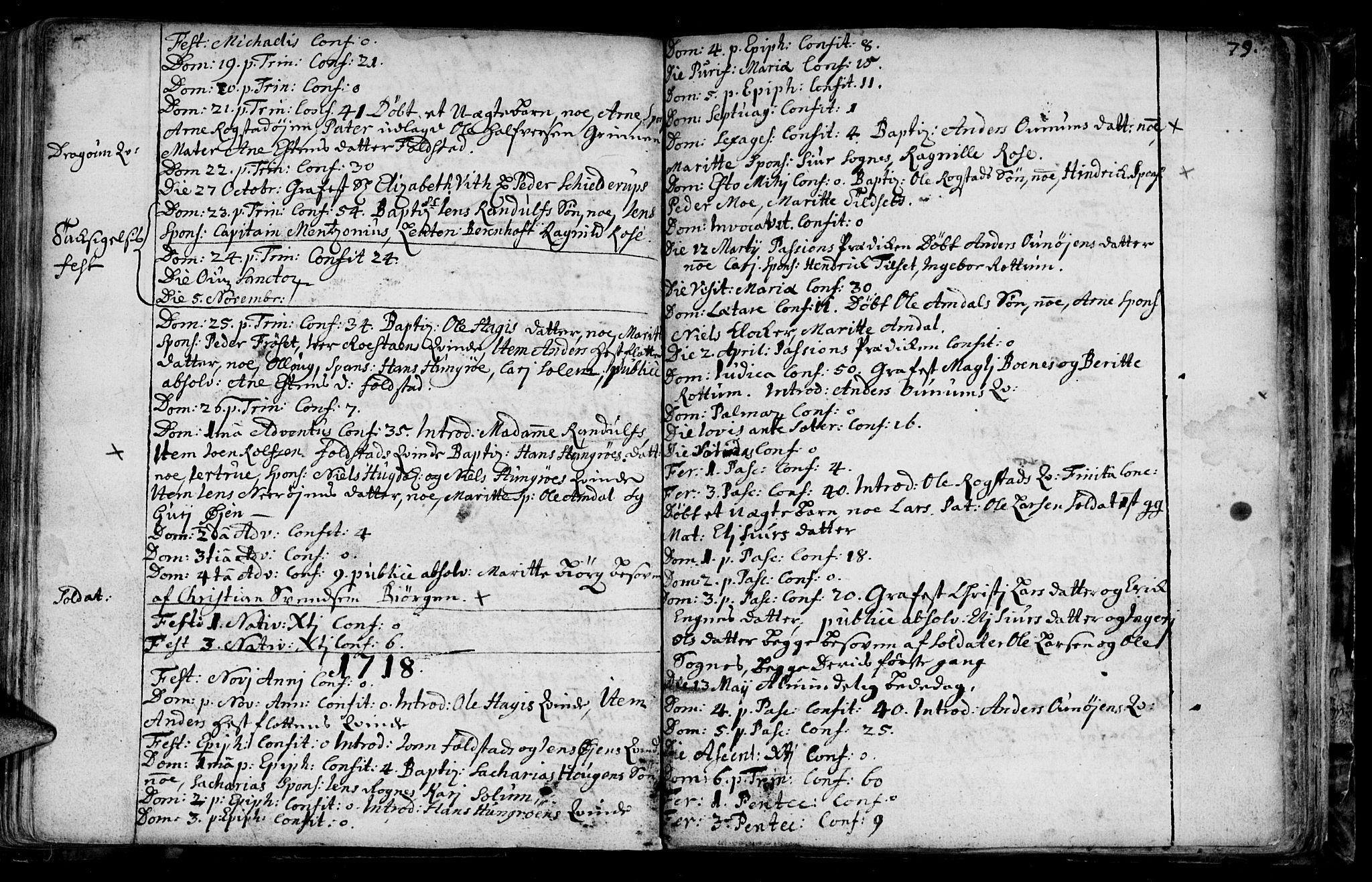 SAT, Ministerialprotokoller, klokkerbøker og fødselsregistre - Sør-Trøndelag, 687/L0990: Ministerialbok nr. 687A01, 1690-1746, s. 79