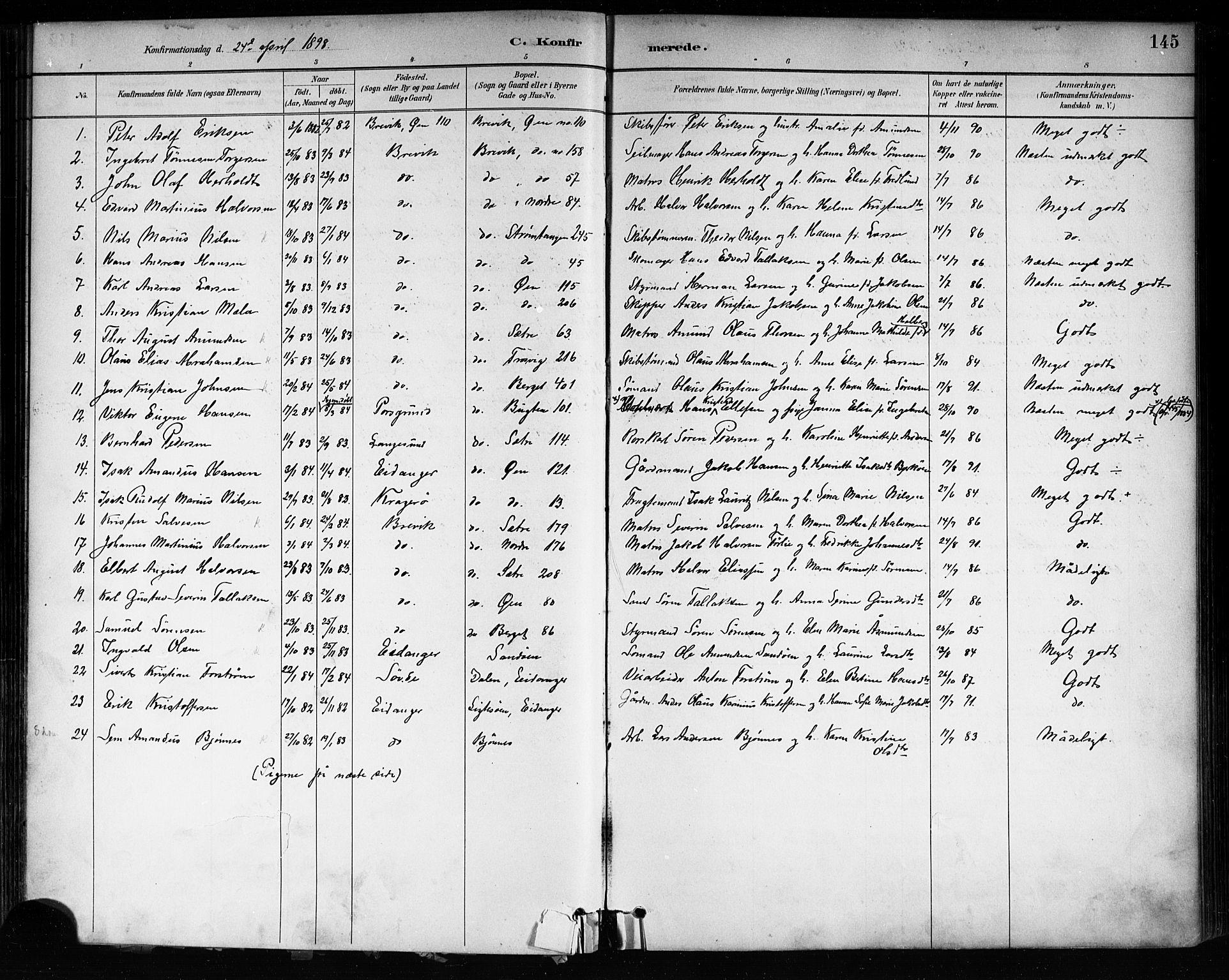 SAKO, Brevik kirkebøker, F/Fa/L0007: Ministerialbok nr. 7, 1882-1900, s. 145