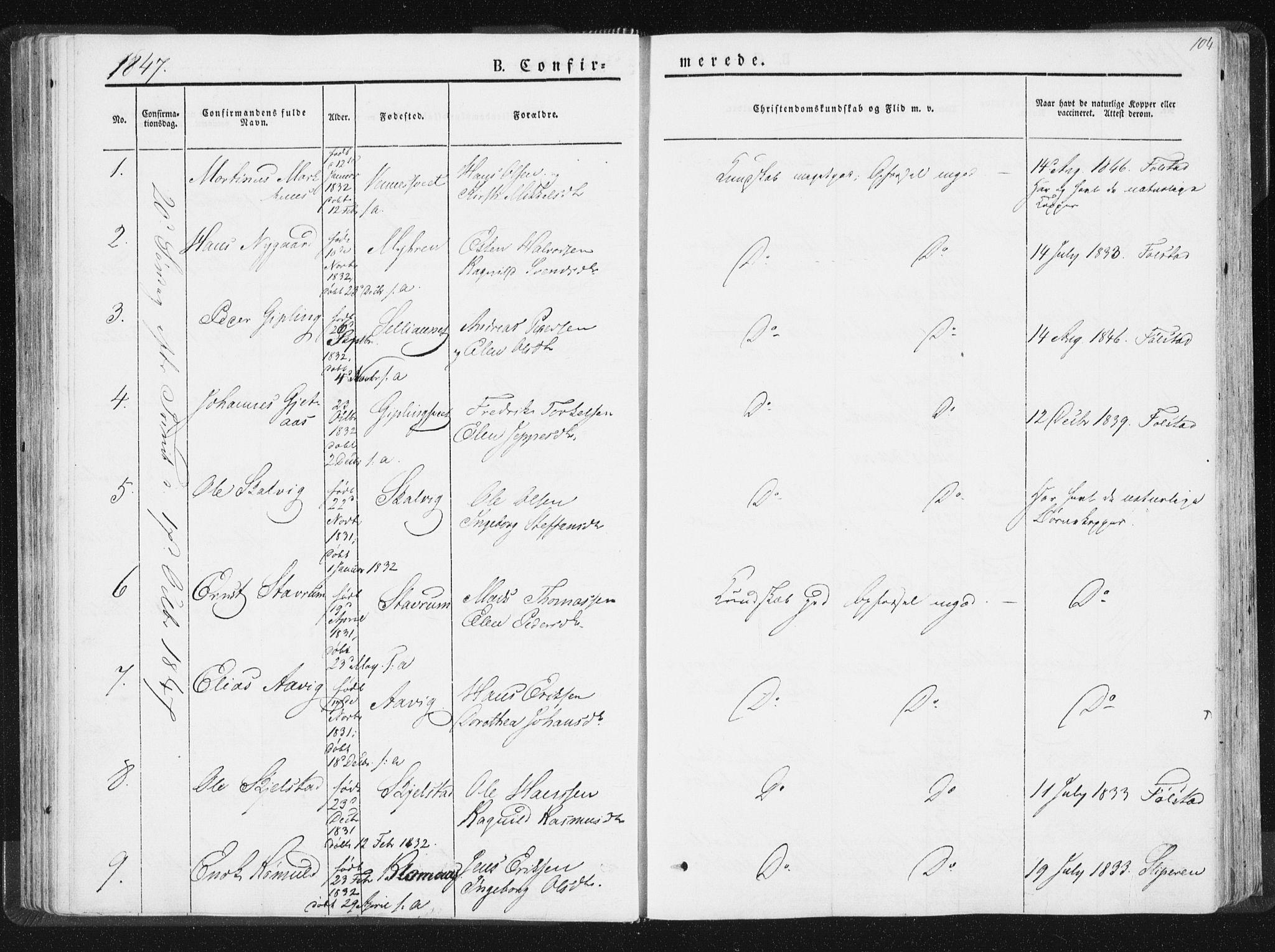 SAT, Ministerialprotokoller, klokkerbøker og fødselsregistre - Nord-Trøndelag, 744/L0418: Ministerialbok nr. 744A02, 1843-1866, s. 104