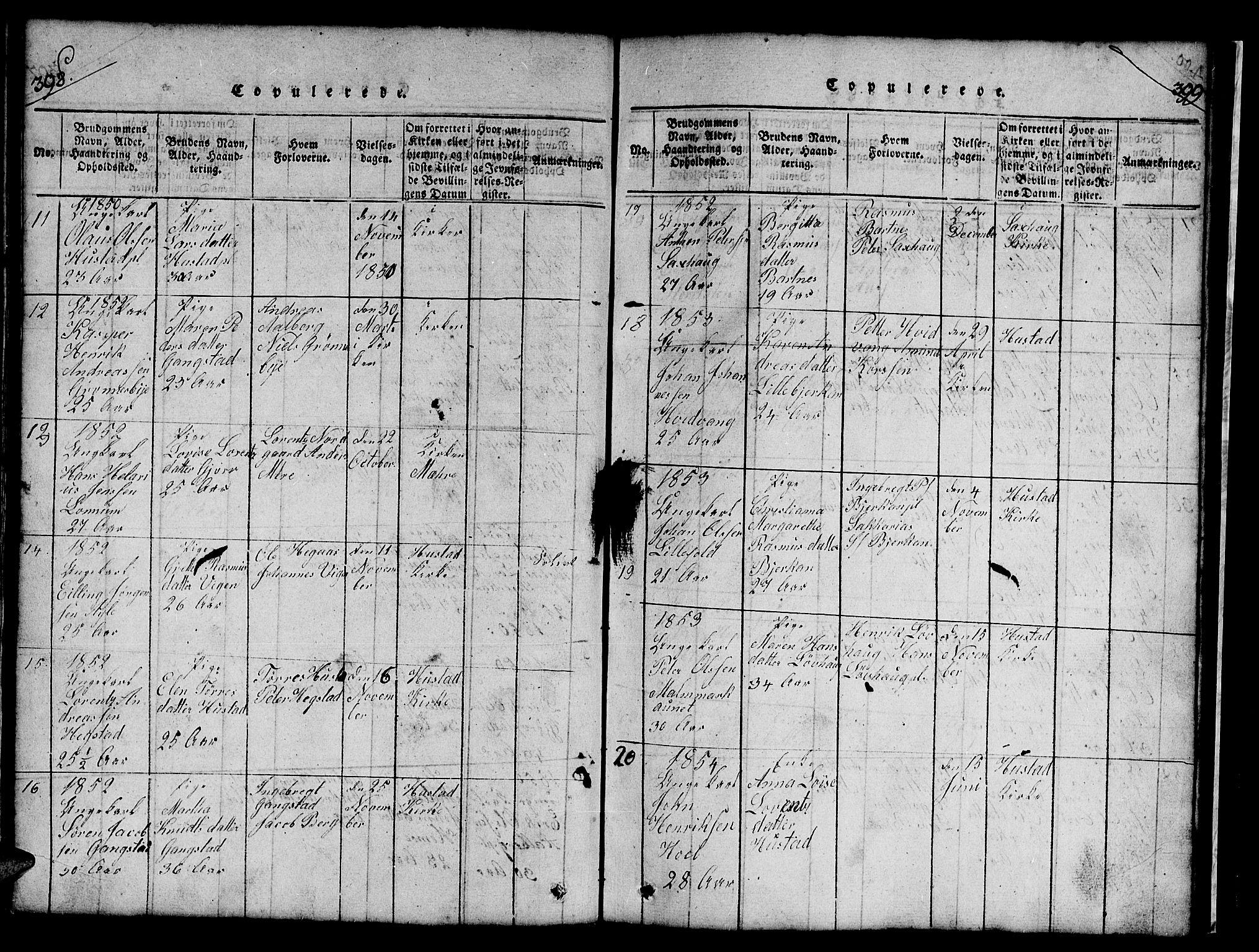 SAT, Ministerialprotokoller, klokkerbøker og fødselsregistre - Nord-Trøndelag, 732/L0317: Klokkerbok nr. 732C01, 1816-1881, s. 398-399