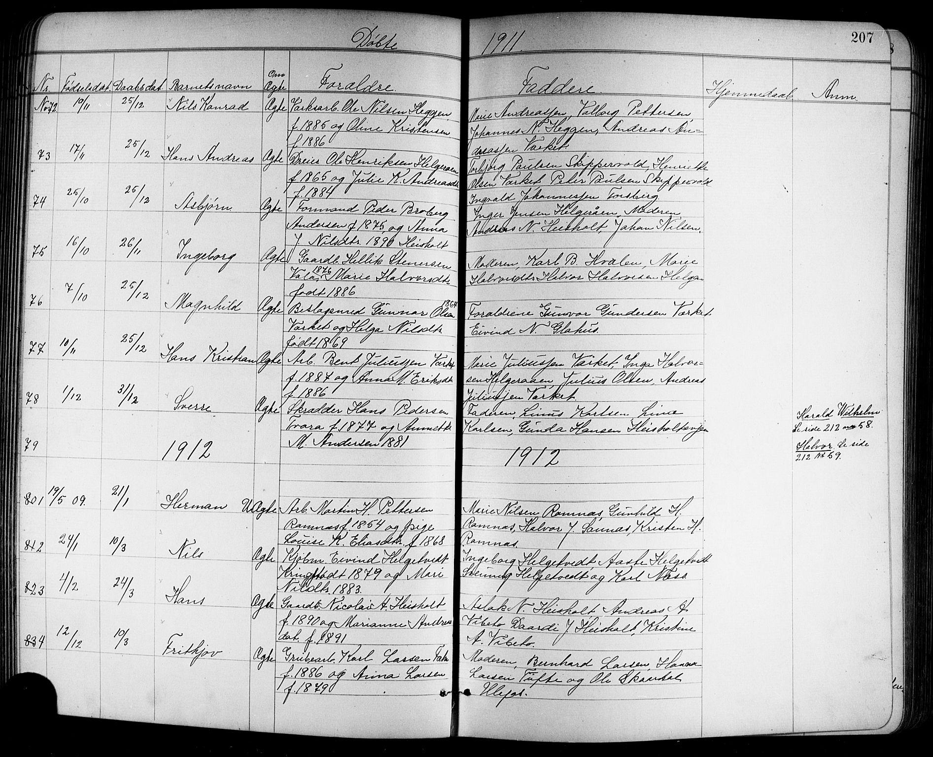 SAKO, Holla kirkebøker, G/Ga/L0005: Klokkerbok nr. I 5, 1891-1917, s. 207