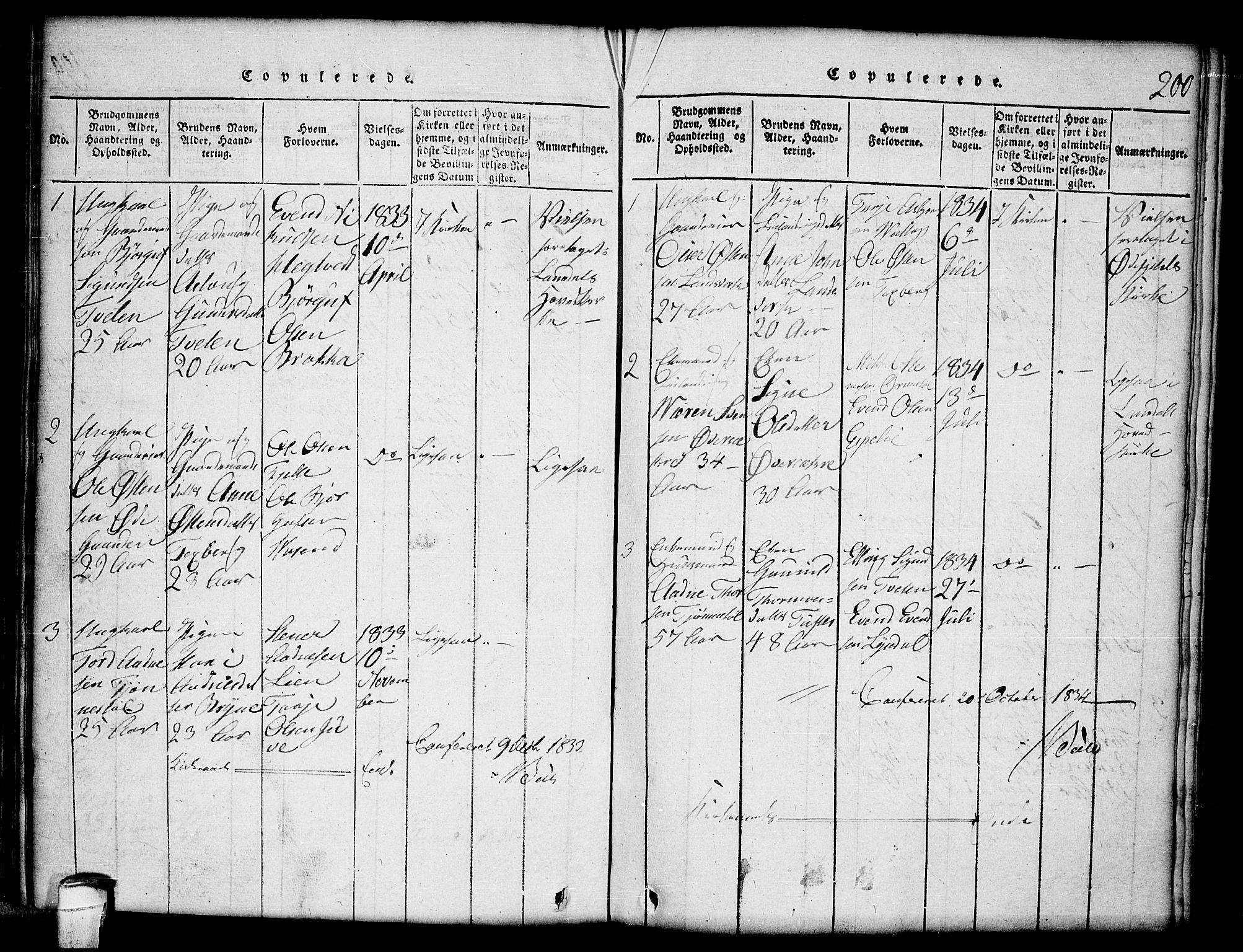 SAKO, Lårdal kirkebøker, G/Gc/L0001: Klokkerbok nr. III 1, 1815-1854, s. 200
