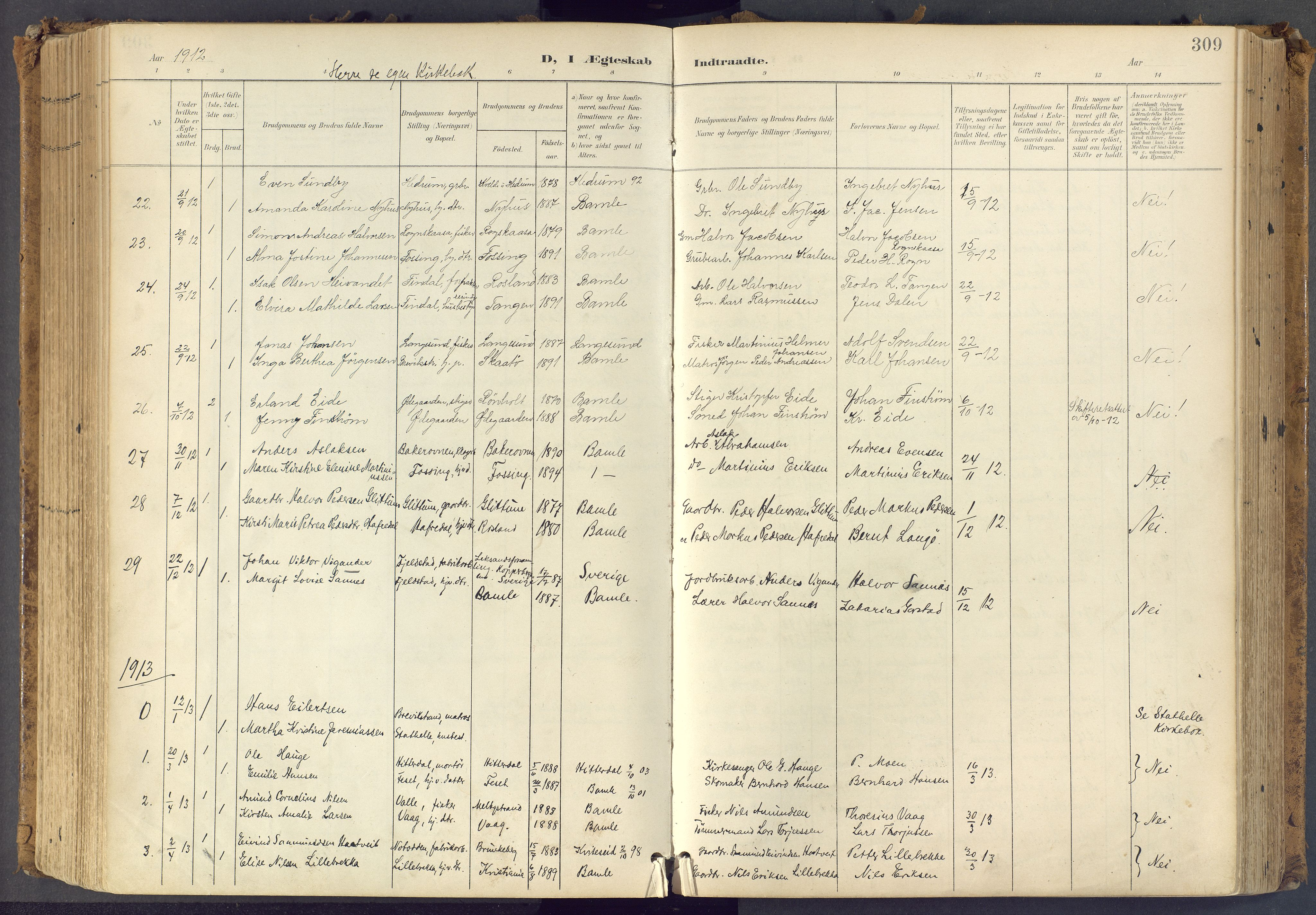 SAKO, Bamble kirkebøker, F/Fa/L0009: Ministerialbok nr. I 9, 1901-1917, s. 309