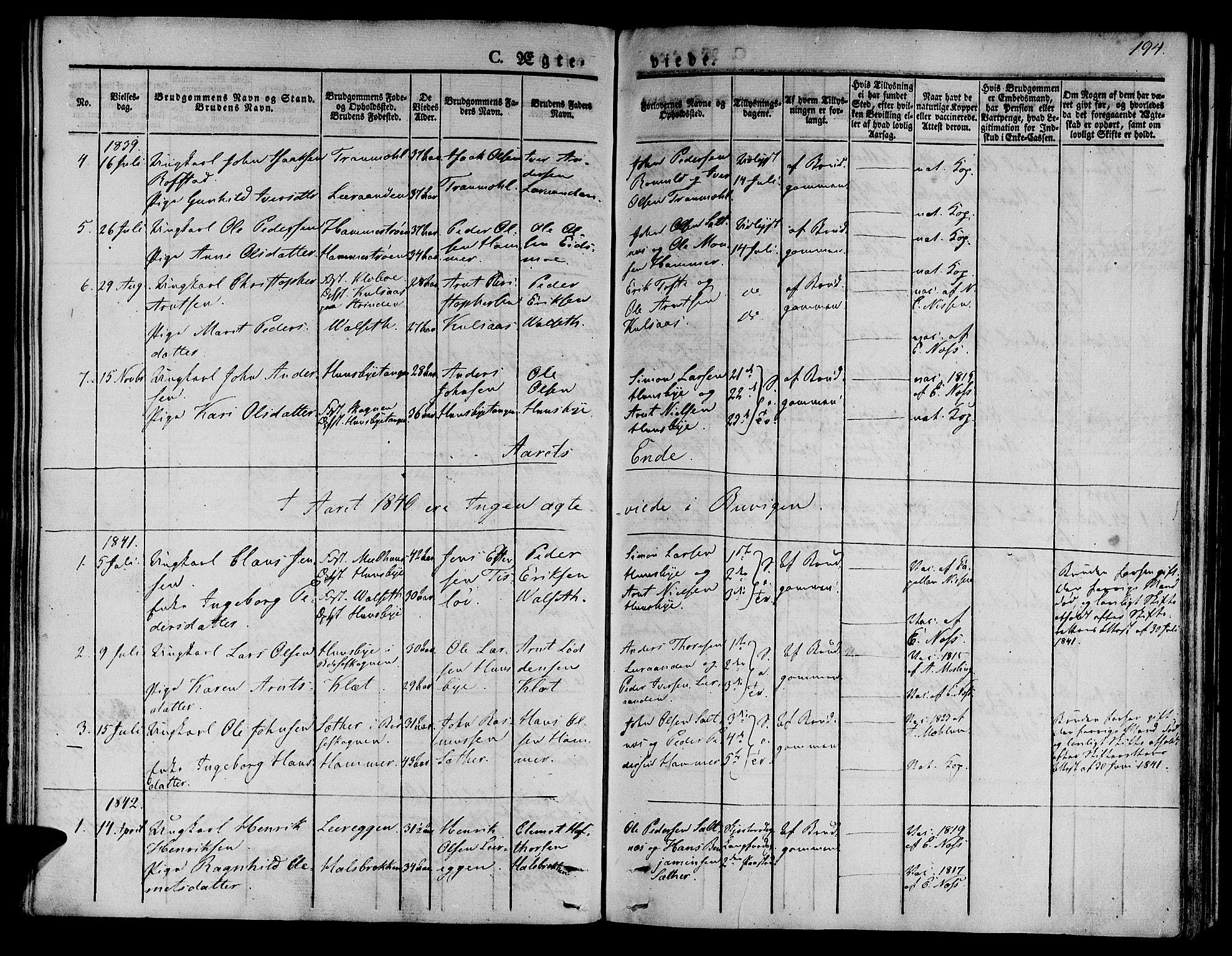 SAT, Ministerialprotokoller, klokkerbøker og fødselsregistre - Sør-Trøndelag, 612/L0375: Ministerialbok nr. 612A07 /2, 1829-1845, s. 194