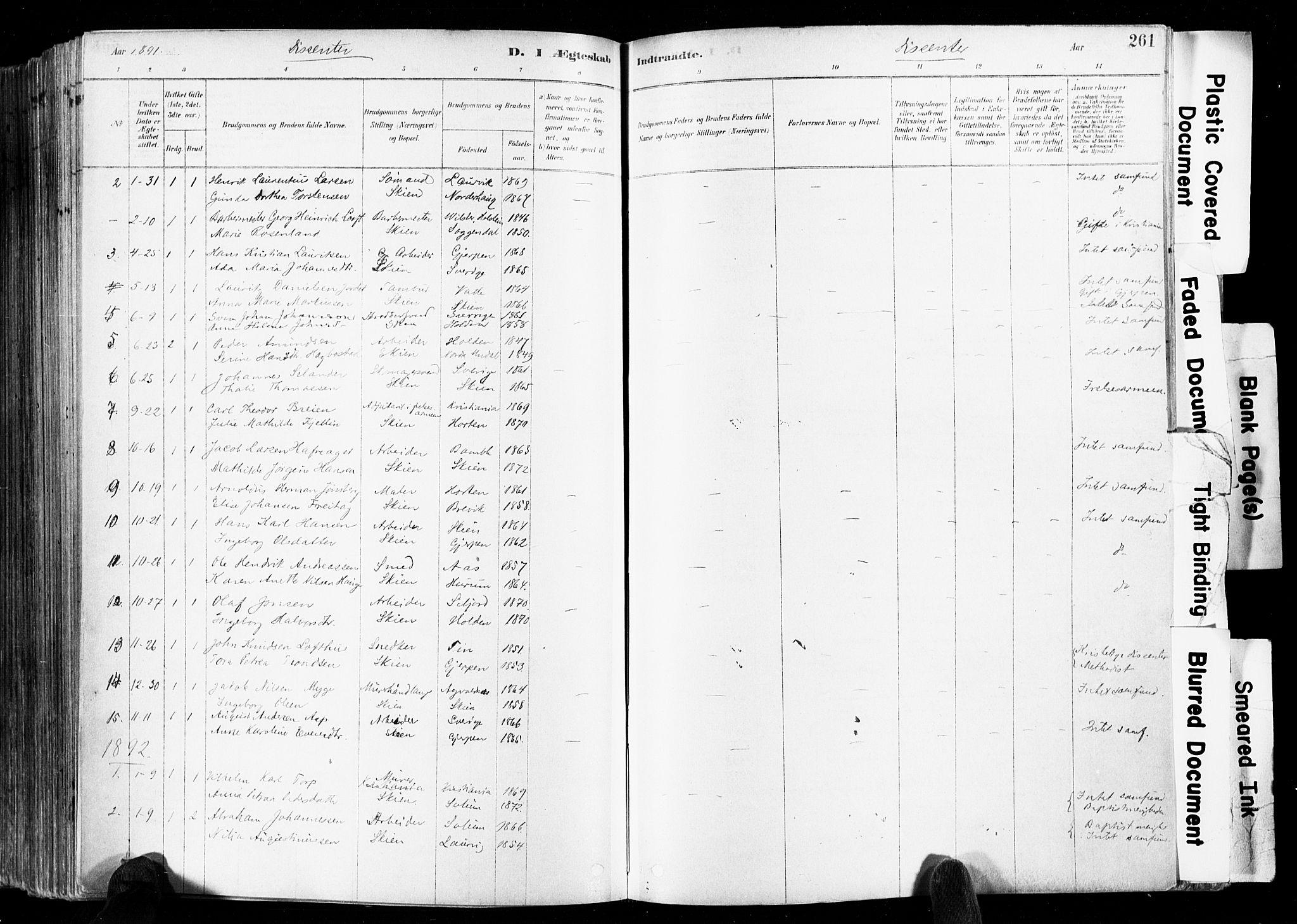 SAKO, Skien kirkebøker, F/Fa/L0009: Ministerialbok nr. 9, 1878-1890, s. 261