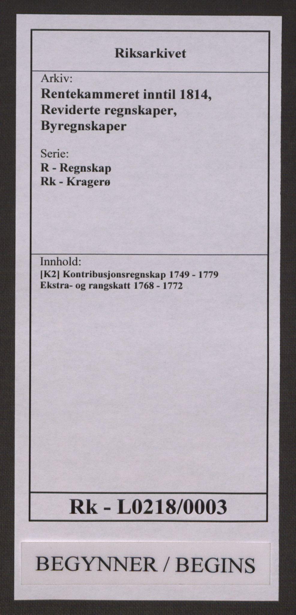 RA, Rentekammeret inntil 1814, Reviderte regnskaper, Byregnskaper, R/Rk/L0218: [K2] Kontribusjonsregnskap, 1768-1772, s. 1