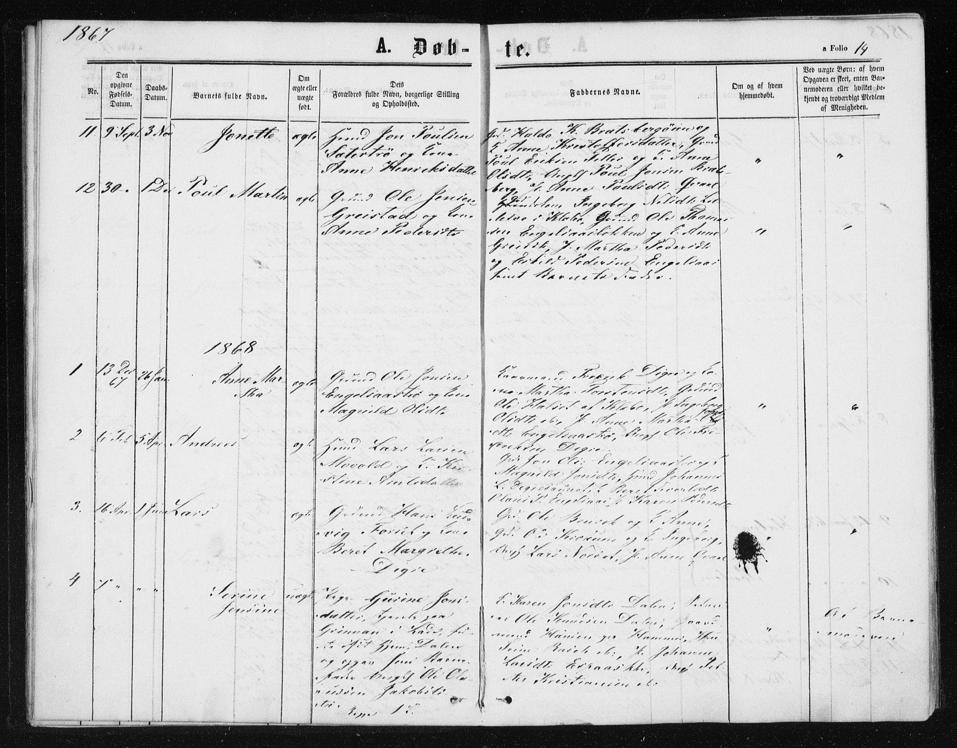 SAT, Ministerialprotokoller, klokkerbøker og fødselsregistre - Sør-Trøndelag, 608/L0333: Ministerialbok nr. 608A02, 1862-1876, s. 14