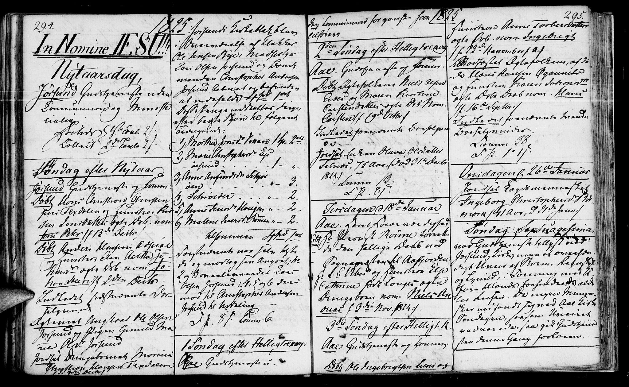 SAT, Ministerialprotokoller, klokkerbøker og fødselsregistre - Sør-Trøndelag, 655/L0674: Ministerialbok nr. 655A03, 1802-1826, s. 294-295