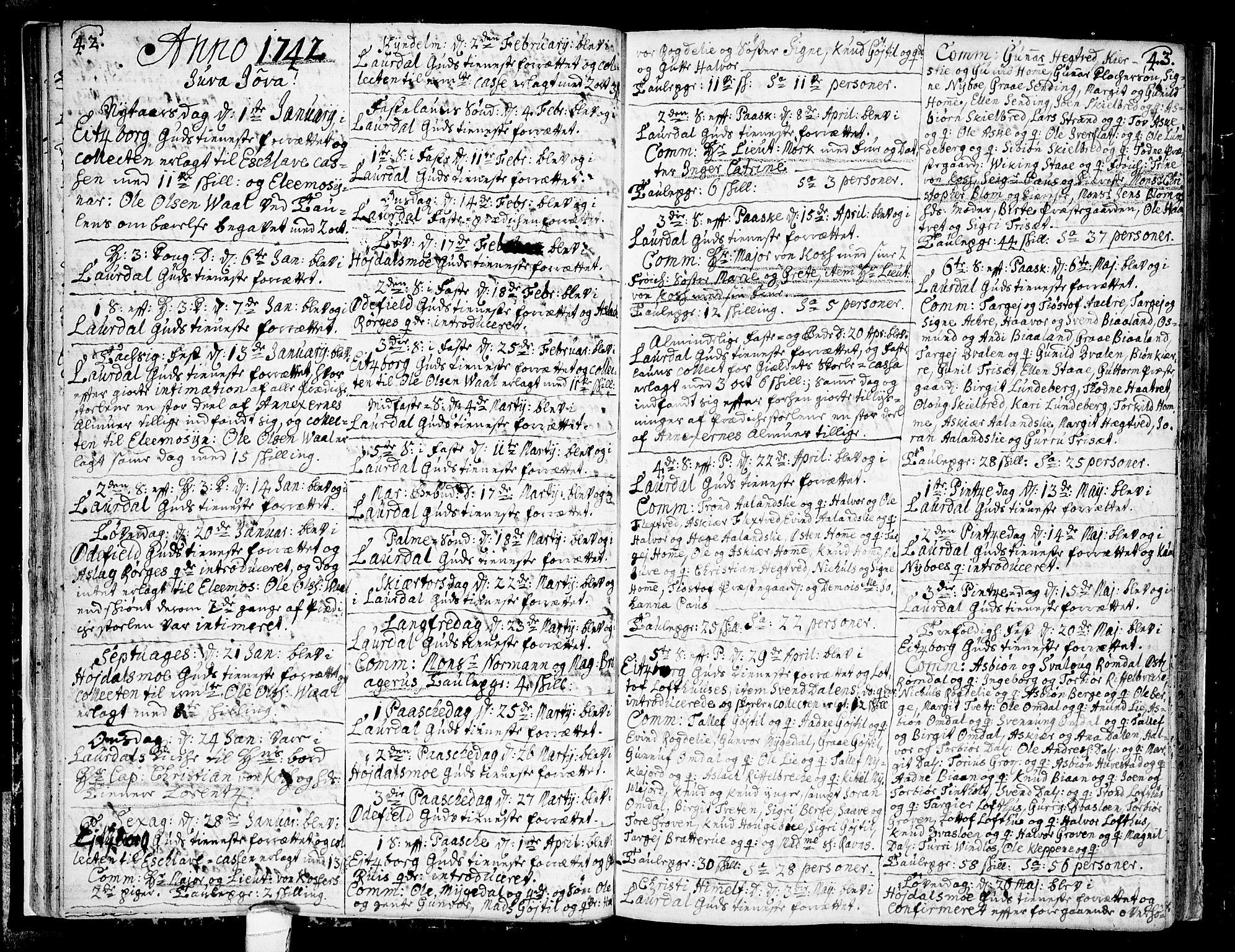 SAKO, Lårdal kirkebøker, F/Fa/L0002: Ministerialbok nr. I 2, 1734-1754, s. 42-43
