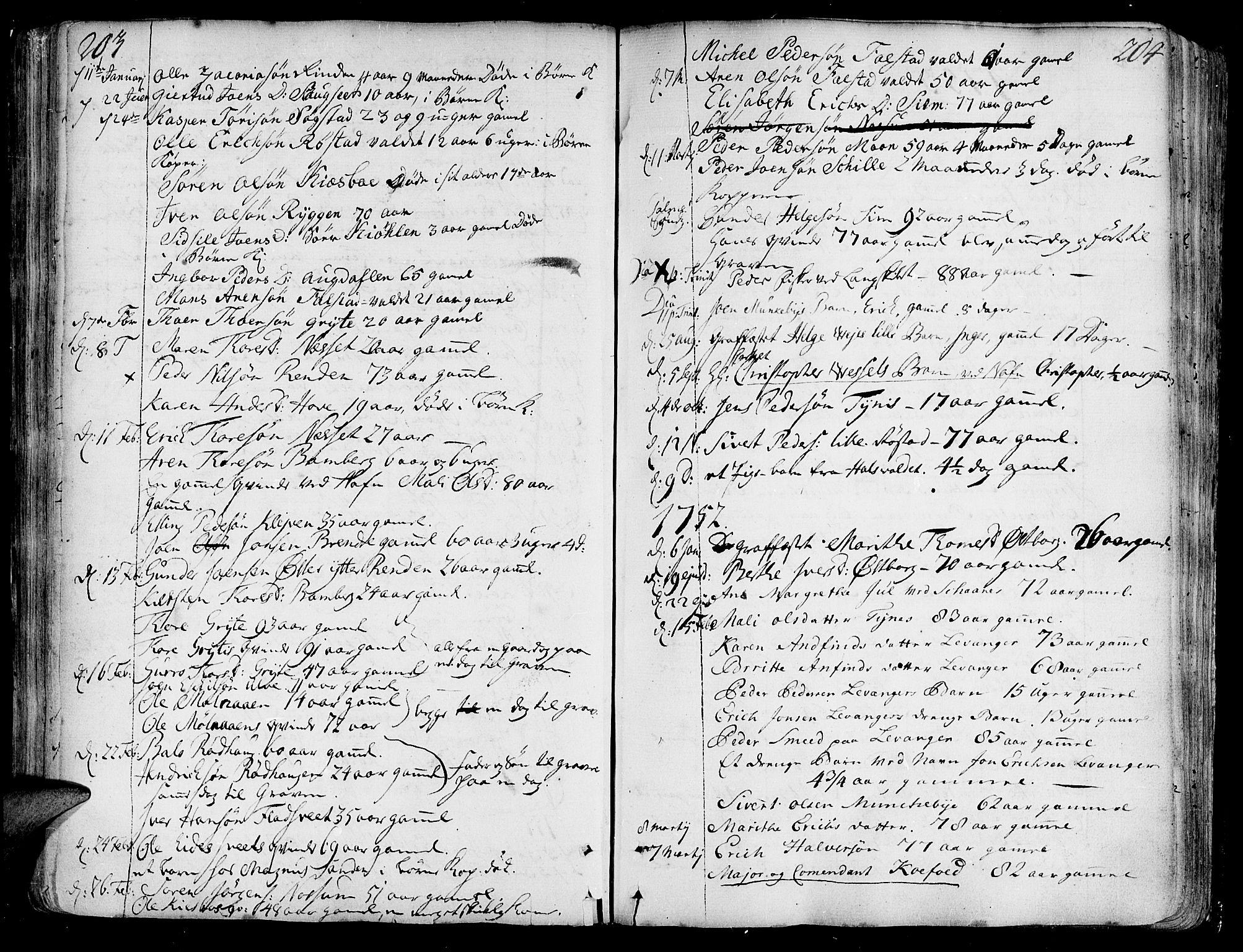 SAT, Ministerialprotokoller, klokkerbøker og fødselsregistre - Nord-Trøndelag, 717/L0141: Ministerialbok nr. 717A01, 1747-1803, s. 203-204