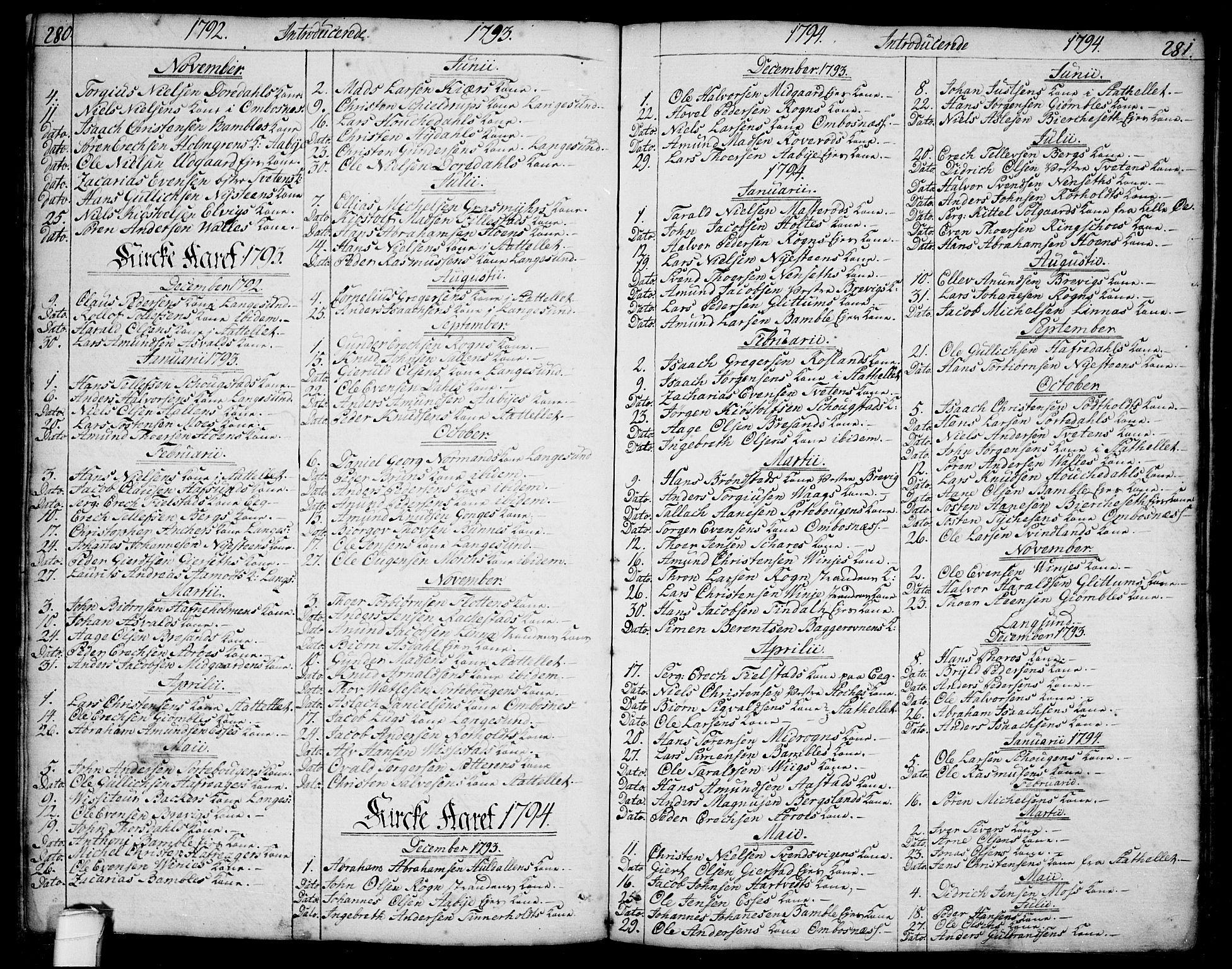 SAKO, Bamble kirkebøker, F/Fa/L0002: Ministerialbok nr. I 2, 1775-1814, s. 280-281