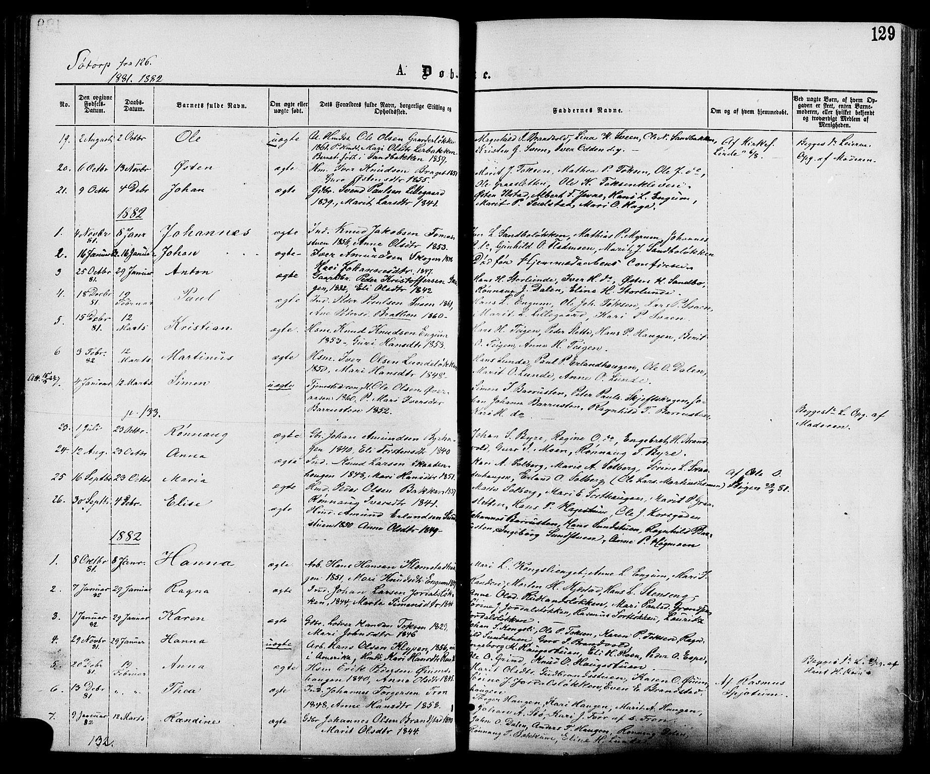 SAH, Nord-Fron prestekontor, Ministerialbok nr. 2, 1865-1883, s. 129