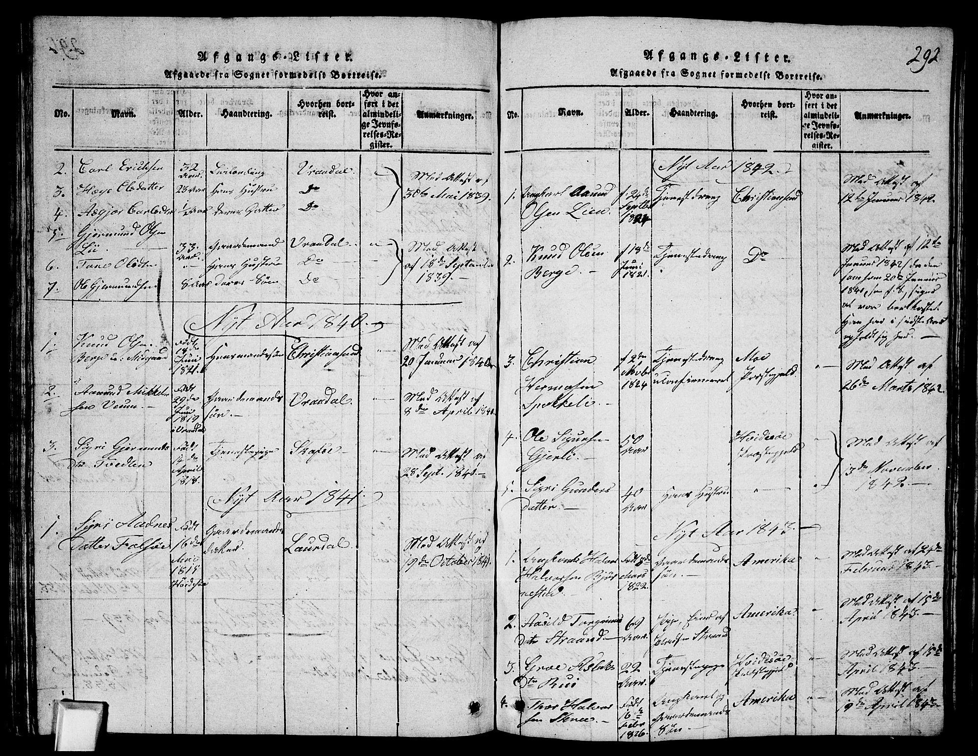 SAKO, Fyresdal kirkebøker, G/Ga/L0003: Klokkerbok nr. I 3, 1815-1863, s. 292