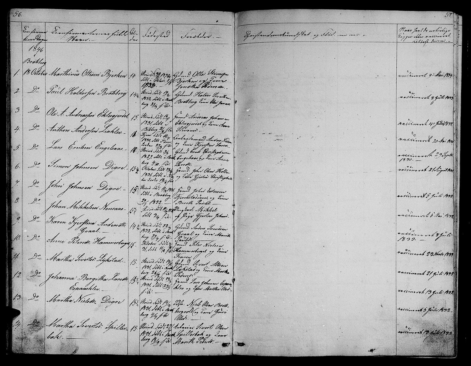 SAT, Ministerialprotokoller, klokkerbøker og fødselsregistre - Sør-Trøndelag, 608/L0339: Klokkerbok nr. 608C05, 1844-1863, s. 56-57
