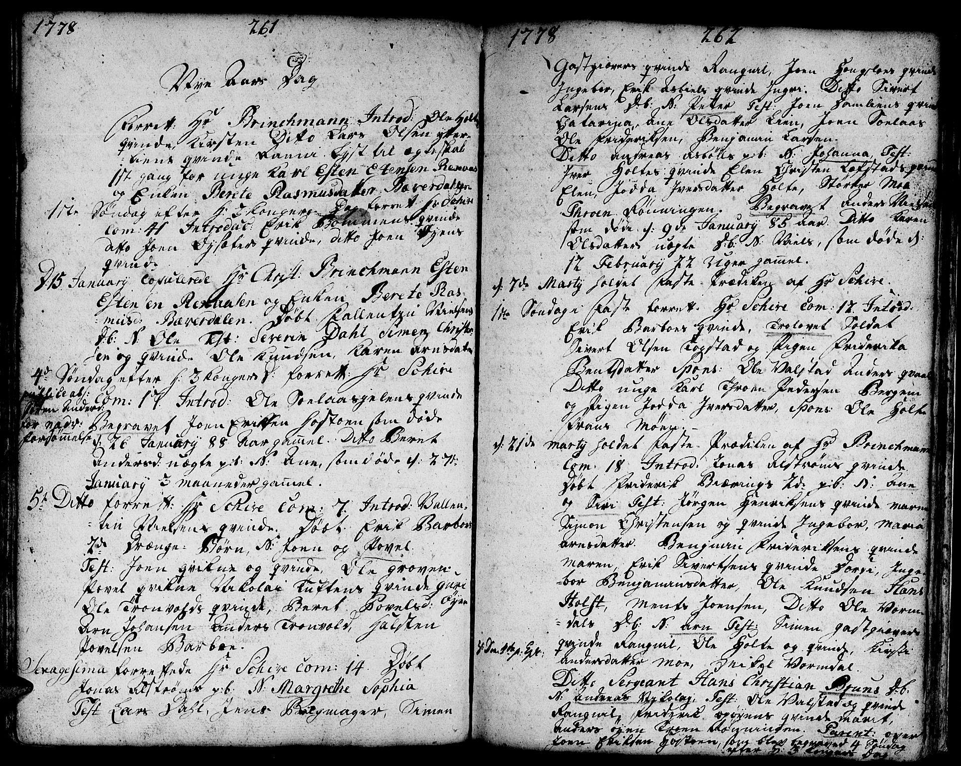 SAT, Ministerialprotokoller, klokkerbøker og fødselsregistre - Sør-Trøndelag, 671/L0840: Ministerialbok nr. 671A02, 1756-1794, s. 261-262