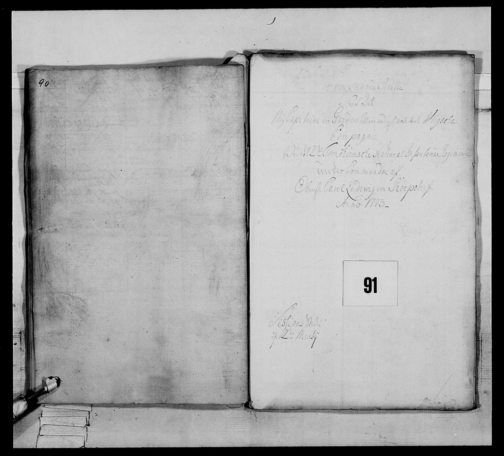 RA, Generalitets- og kommissariatskollegiet, Det kongelige norske kommissariatskollegium, E/Eh/L0076: 2. Trondheimske nasjonale infanteriregiment, 1766-1773, s. 532