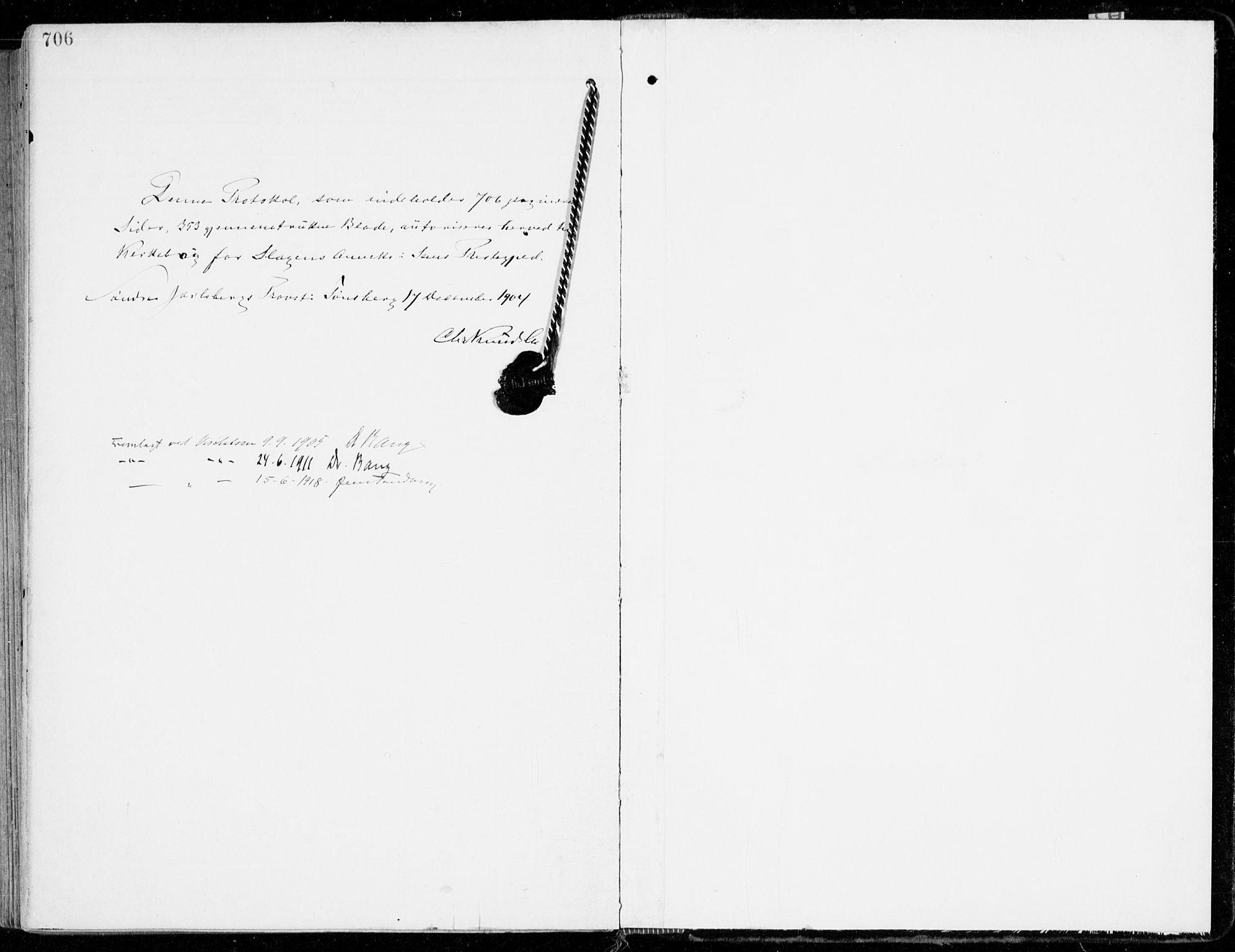 SAKO, Sem kirkebøker, F/Fb/L0006: Ministerialbok nr. II 6, 1905-1918, s. 706-707