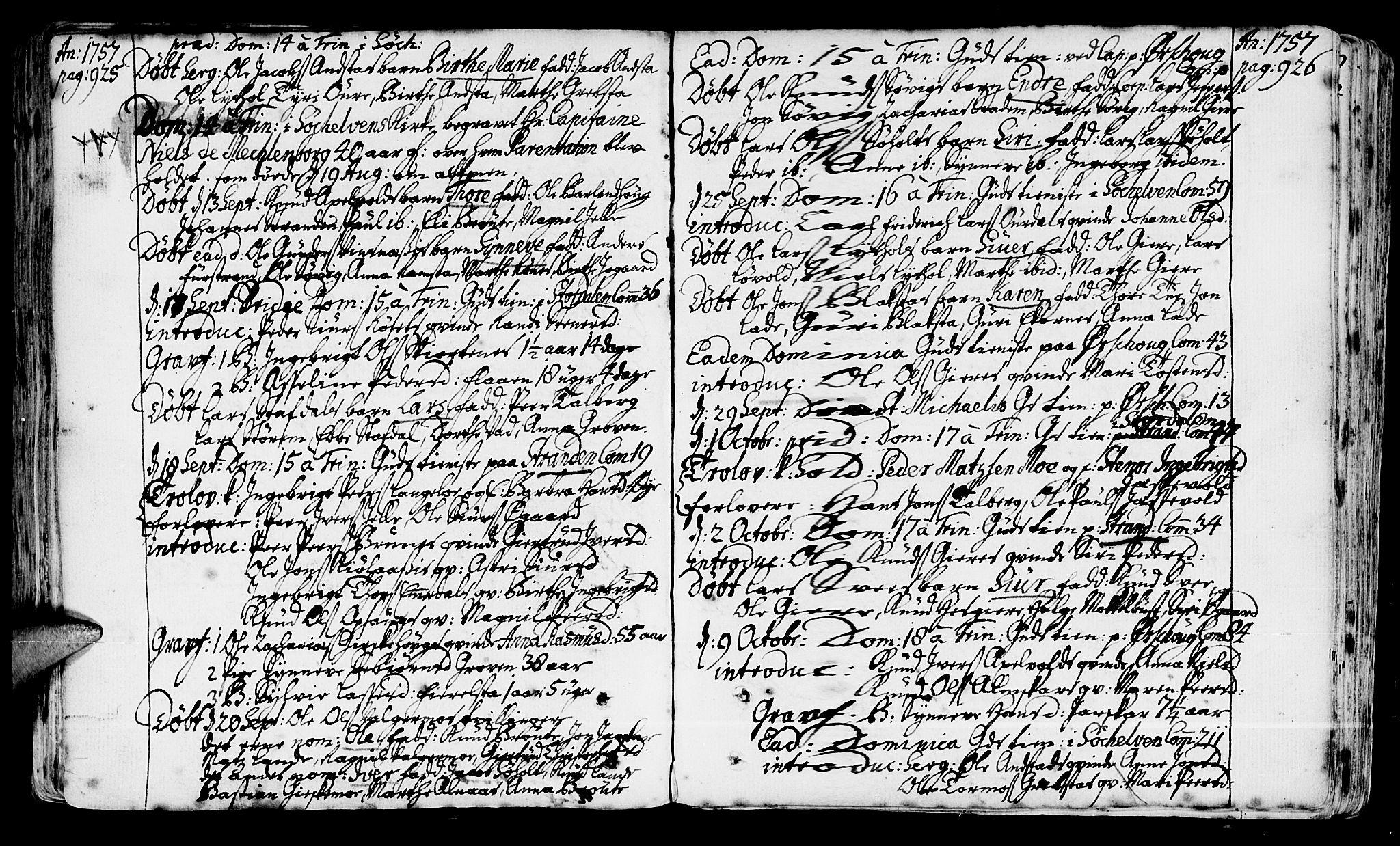 SAT, Ministerialprotokoller, klokkerbøker og fødselsregistre - Møre og Romsdal, 522/L0307: Ministerialbok nr. 522A02, 1743-1773, s. 925-926