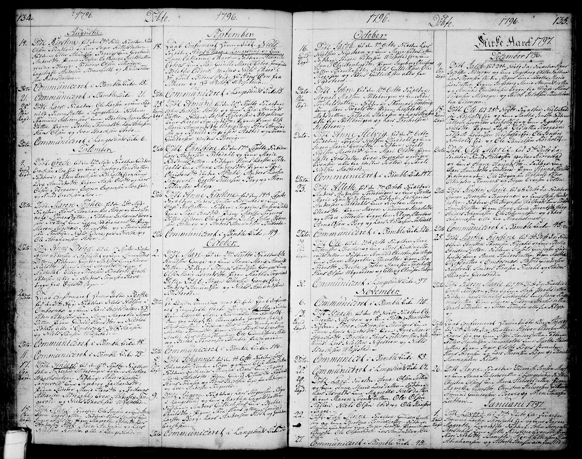 SAKO, Bamble kirkebøker, F/Fa/L0002: Ministerialbok nr. I 2, 1775-1814, s. 134-135