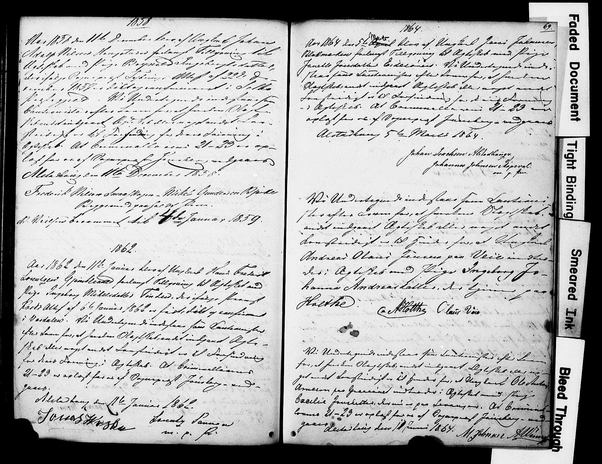 SAT, Ministerialprotokoller, klokkerbøker og fødselsregistre - Nord-Trøndelag, 717/L0161: Forlovererklæringer nr. 717A11, 1850-1895, s. 69