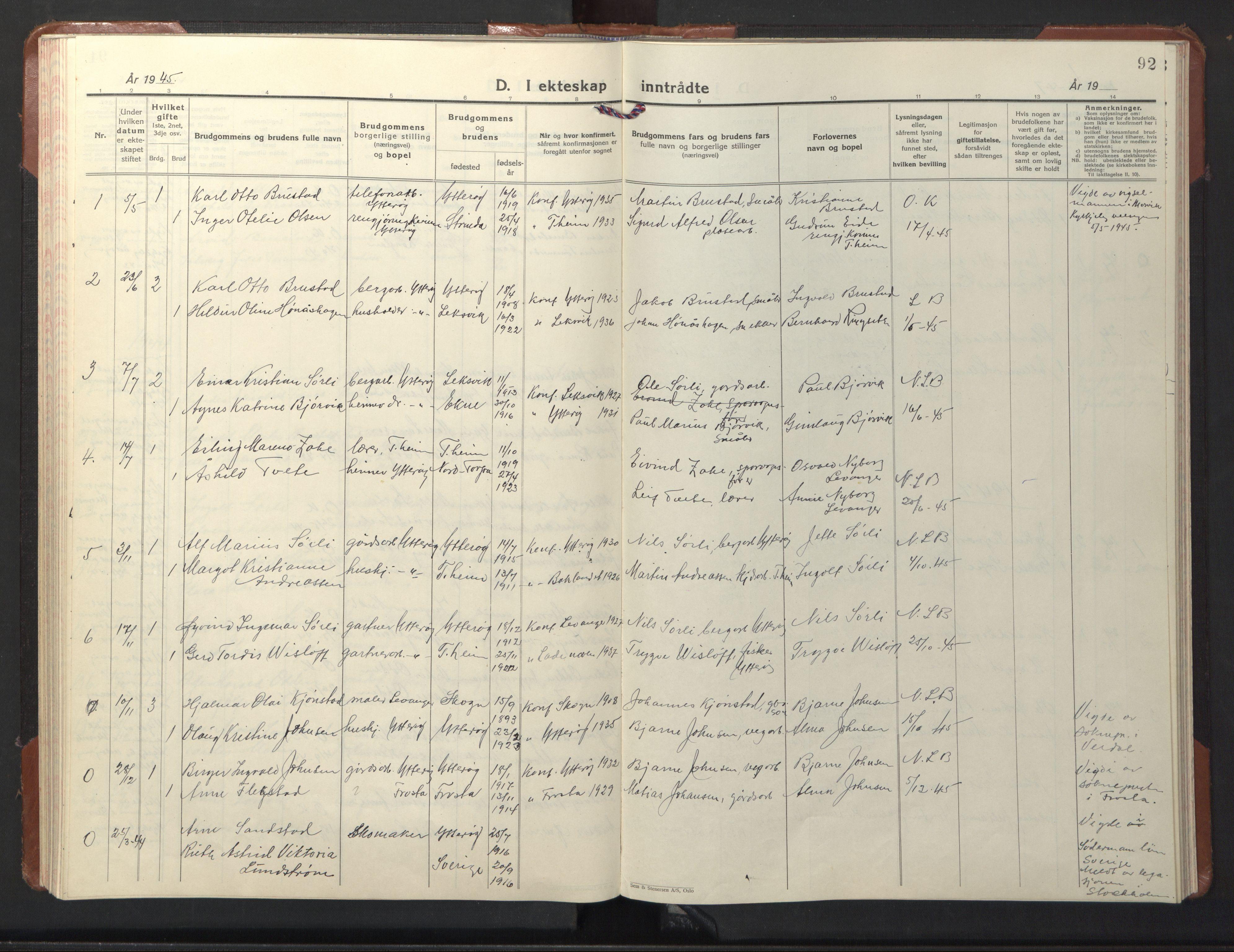 SAT, Ministerialprotokoller, klokkerbøker og fødselsregistre - Nord-Trøndelag, 722/L0227: Klokkerbok nr. 722C03, 1928-1958, s. 92