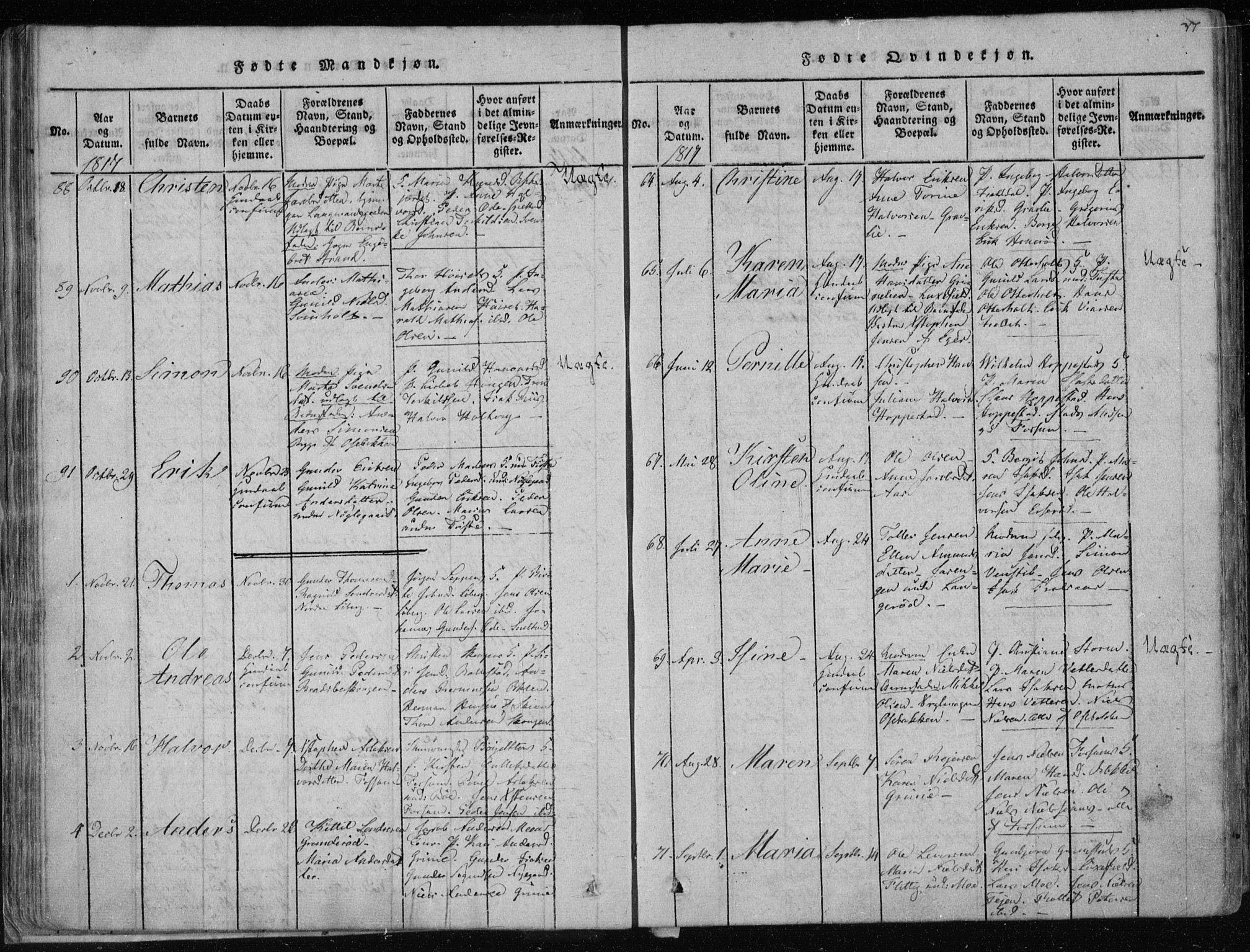 SAKO, Gjerpen kirkebøker, F/Fa/L0004: Ministerialbok nr. 4, 1814-1823, s. 37